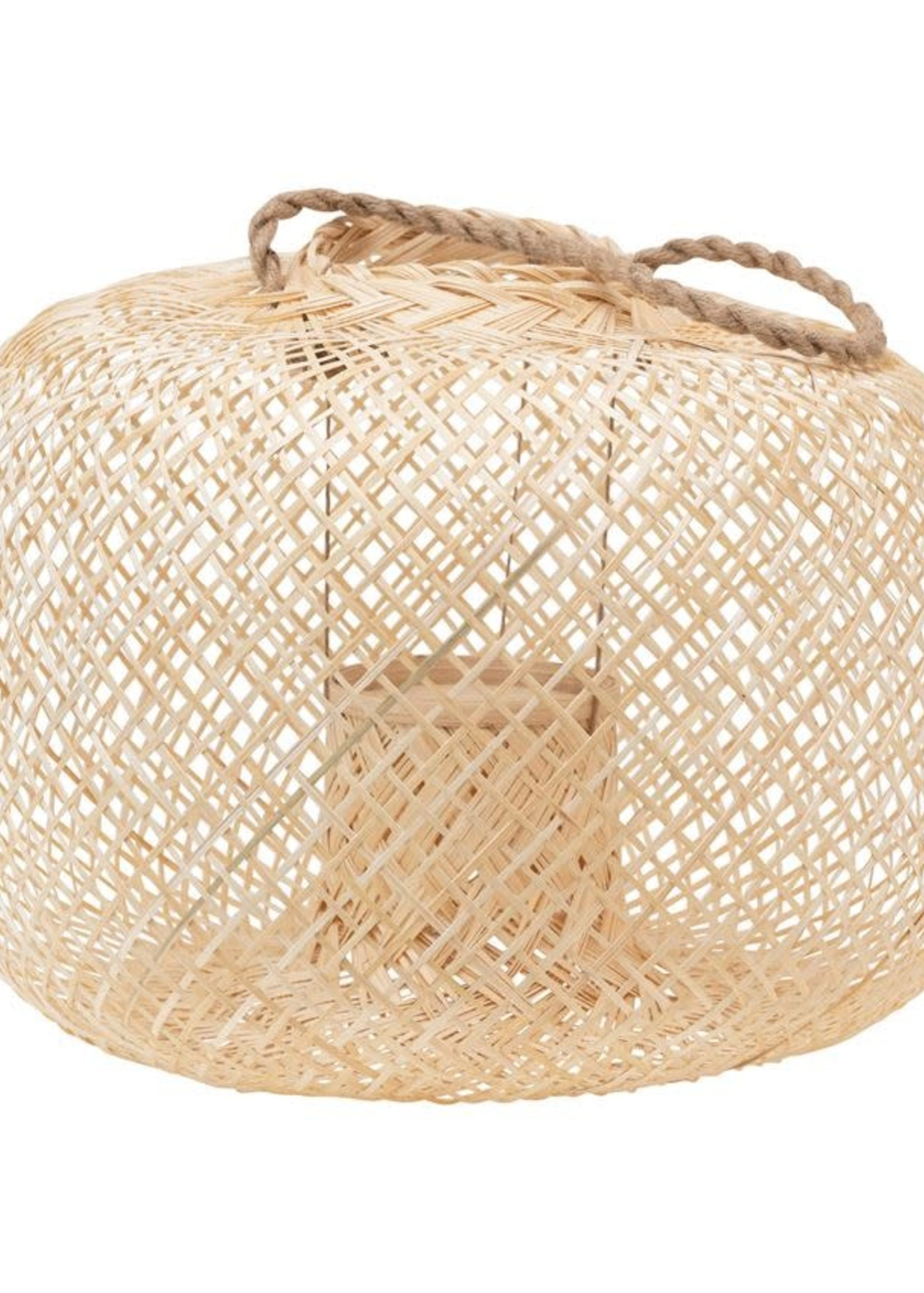 Hand-Woven Bamboo Lantern with Jute Handle & Glass Insert, Natural