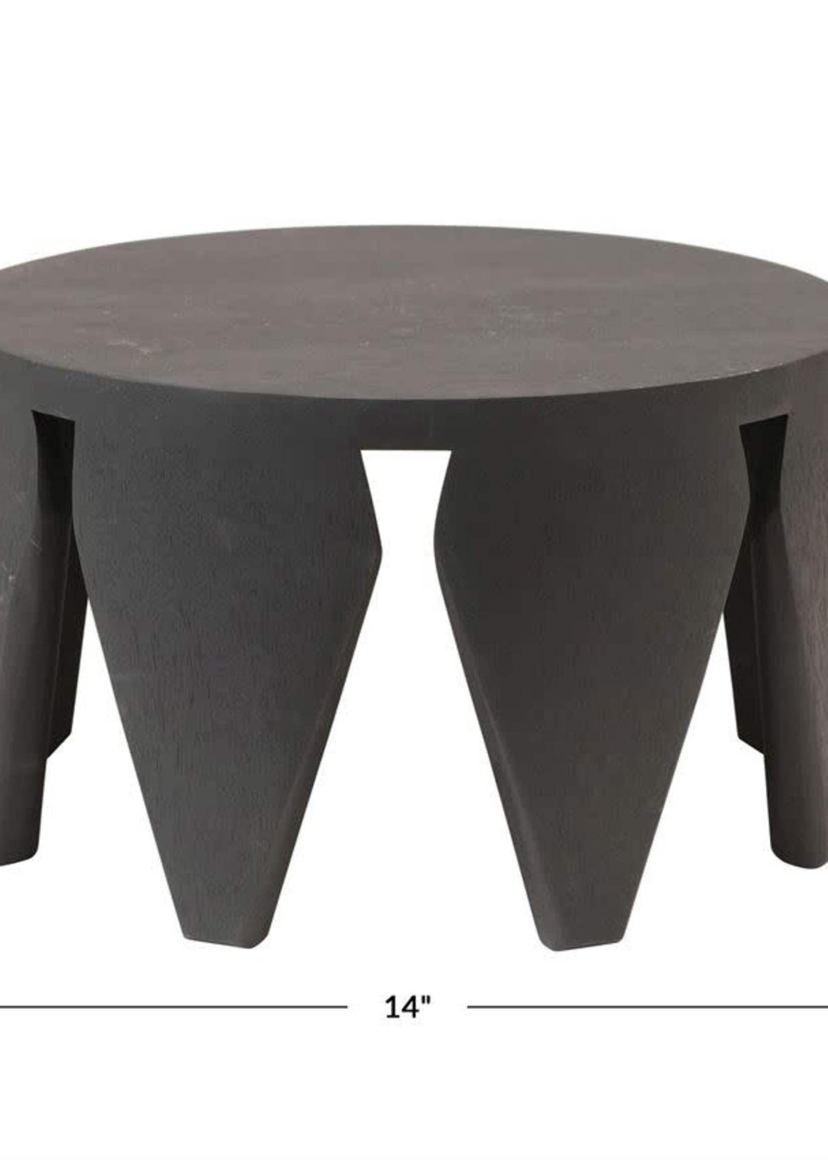 Mango Wood Footed Pedestal, Black