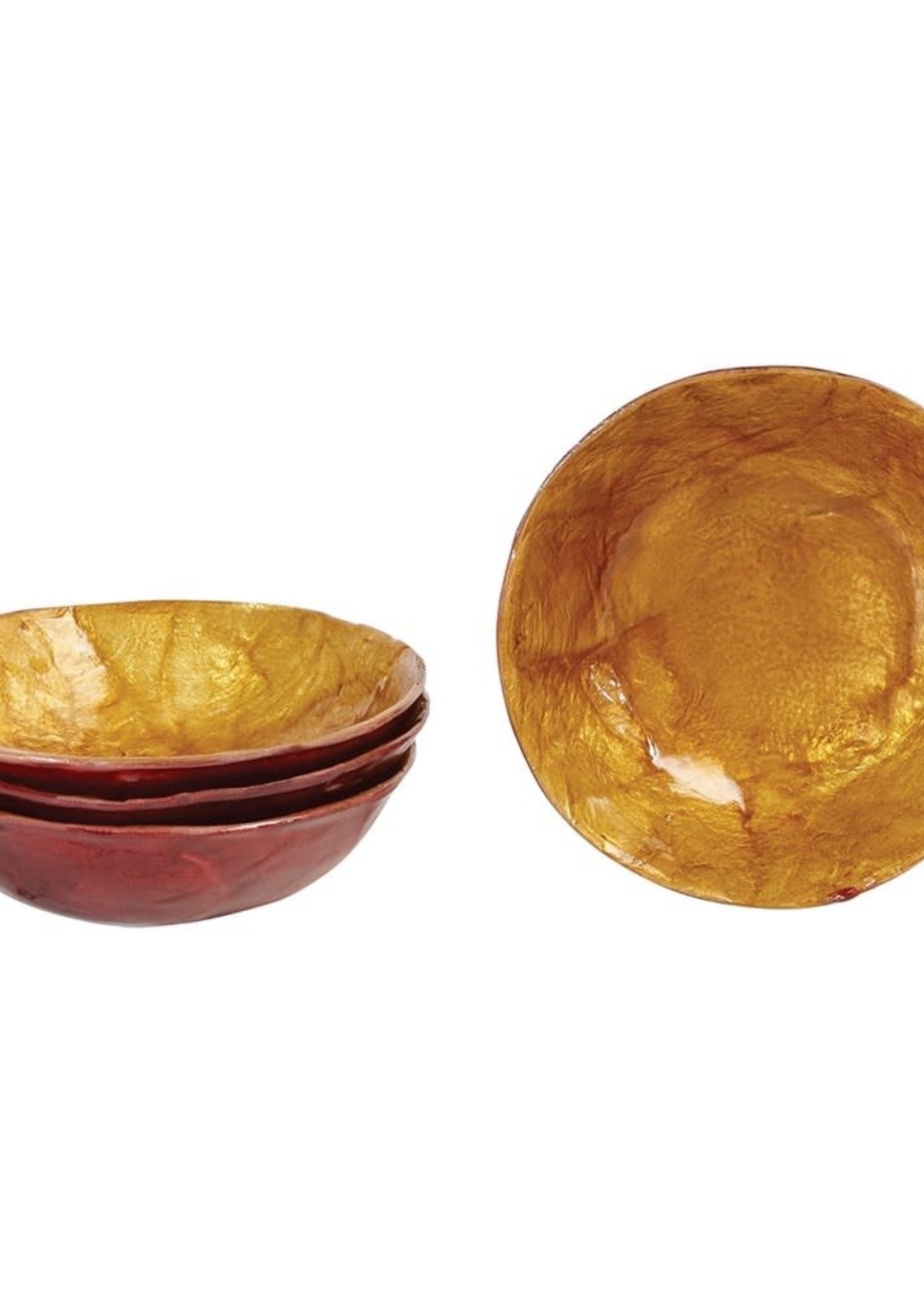 Round Decorative Capiz Bowl, Red & Amber Color