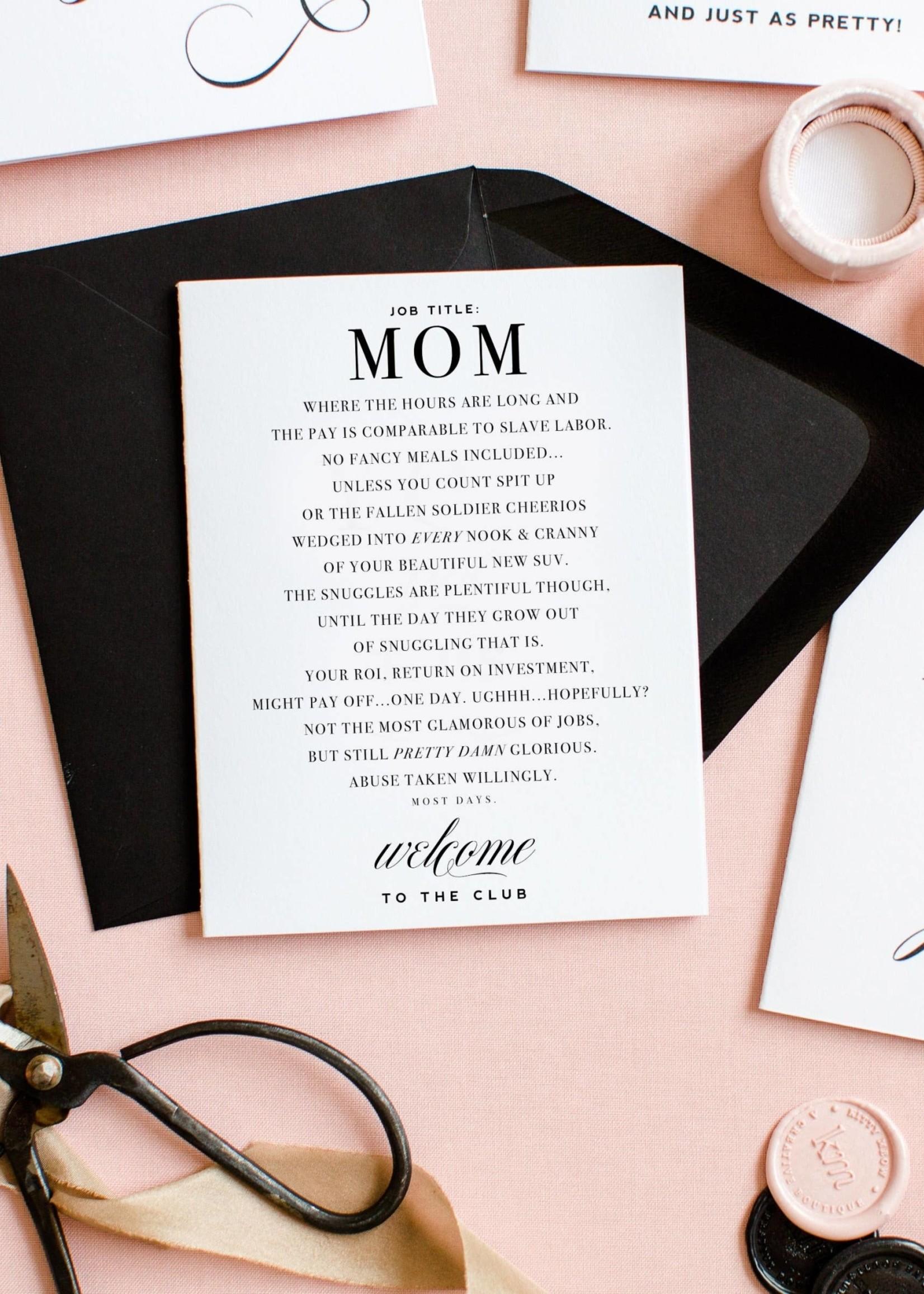 Mom Club - Funny New Mom Card & Mom Friendship Card