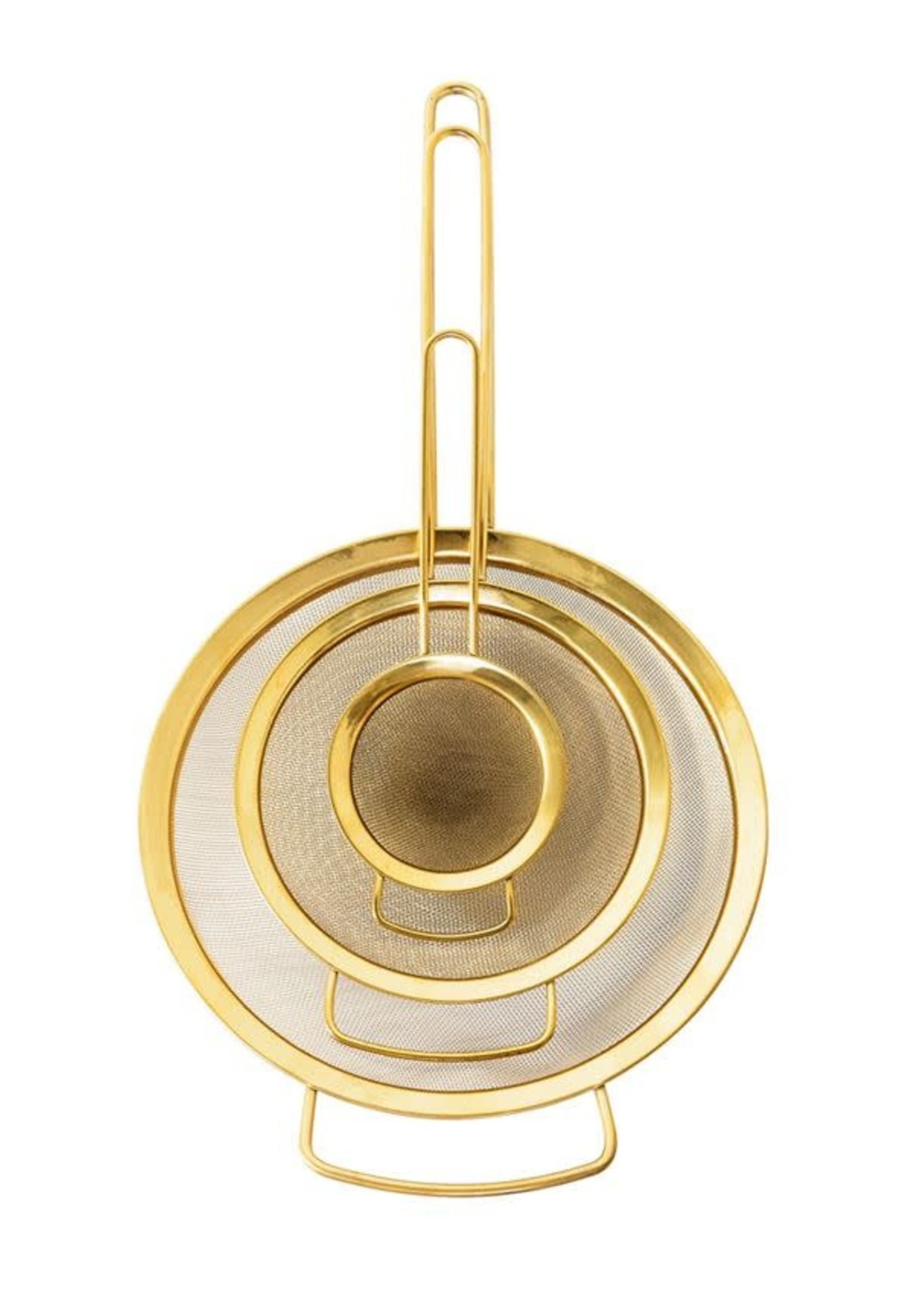 Stainless Steel Strainers, Gold Finish, Set of 3