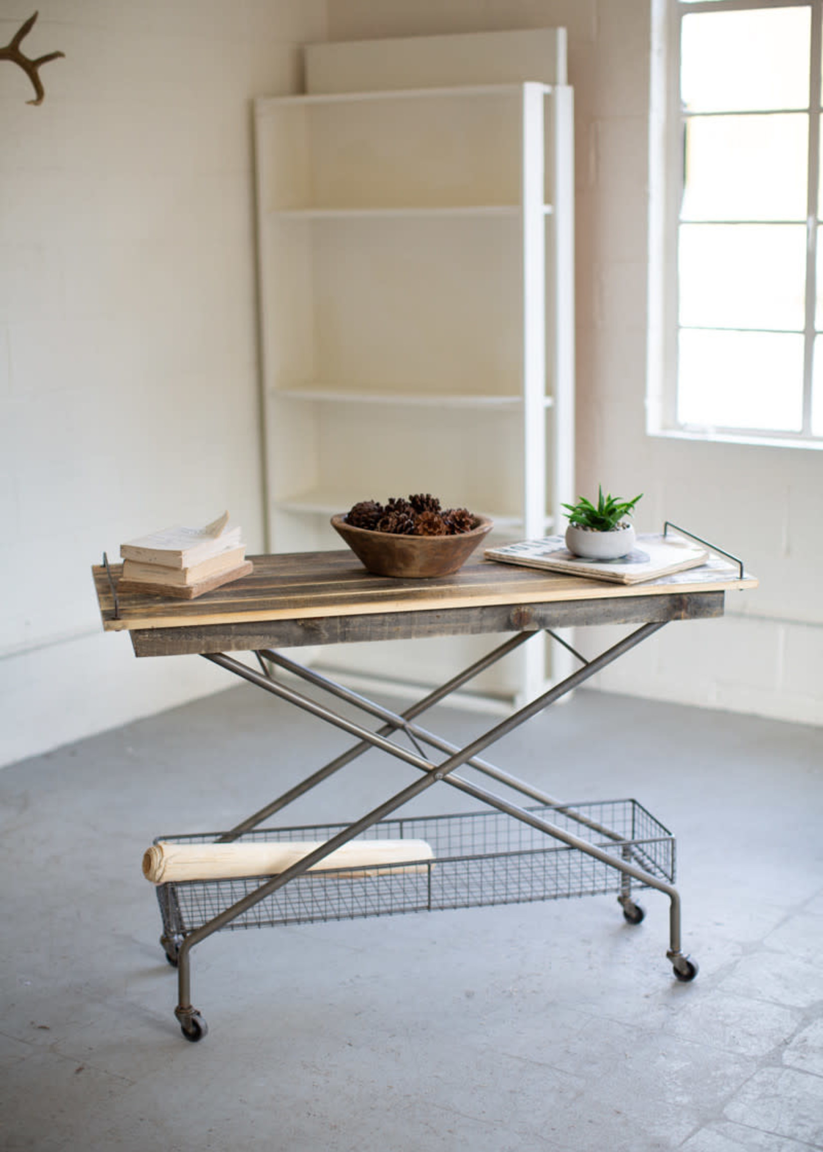 Recycled Wood Console Table w/ Metal Base Basket Casters