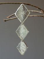 Antique Mirror Diamond Shape Triple Drop Ornament