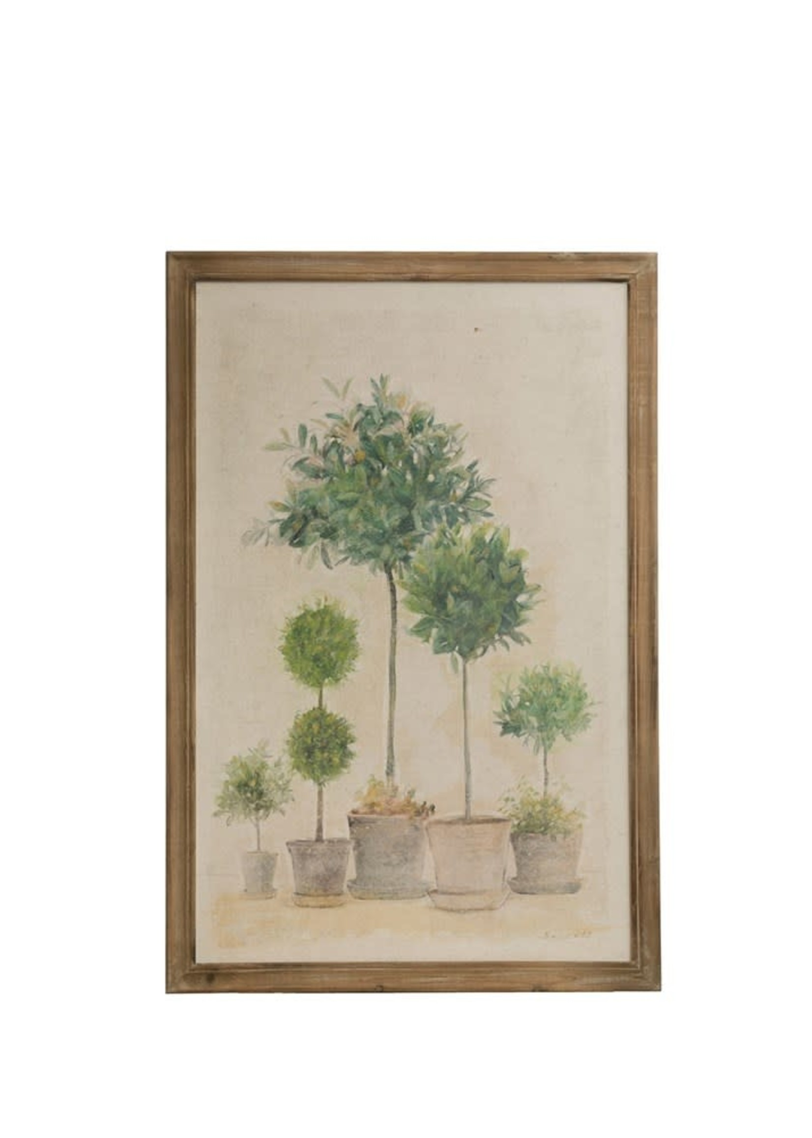Wood Framed Wall Decor w/ Boxwood Topiary in Pots