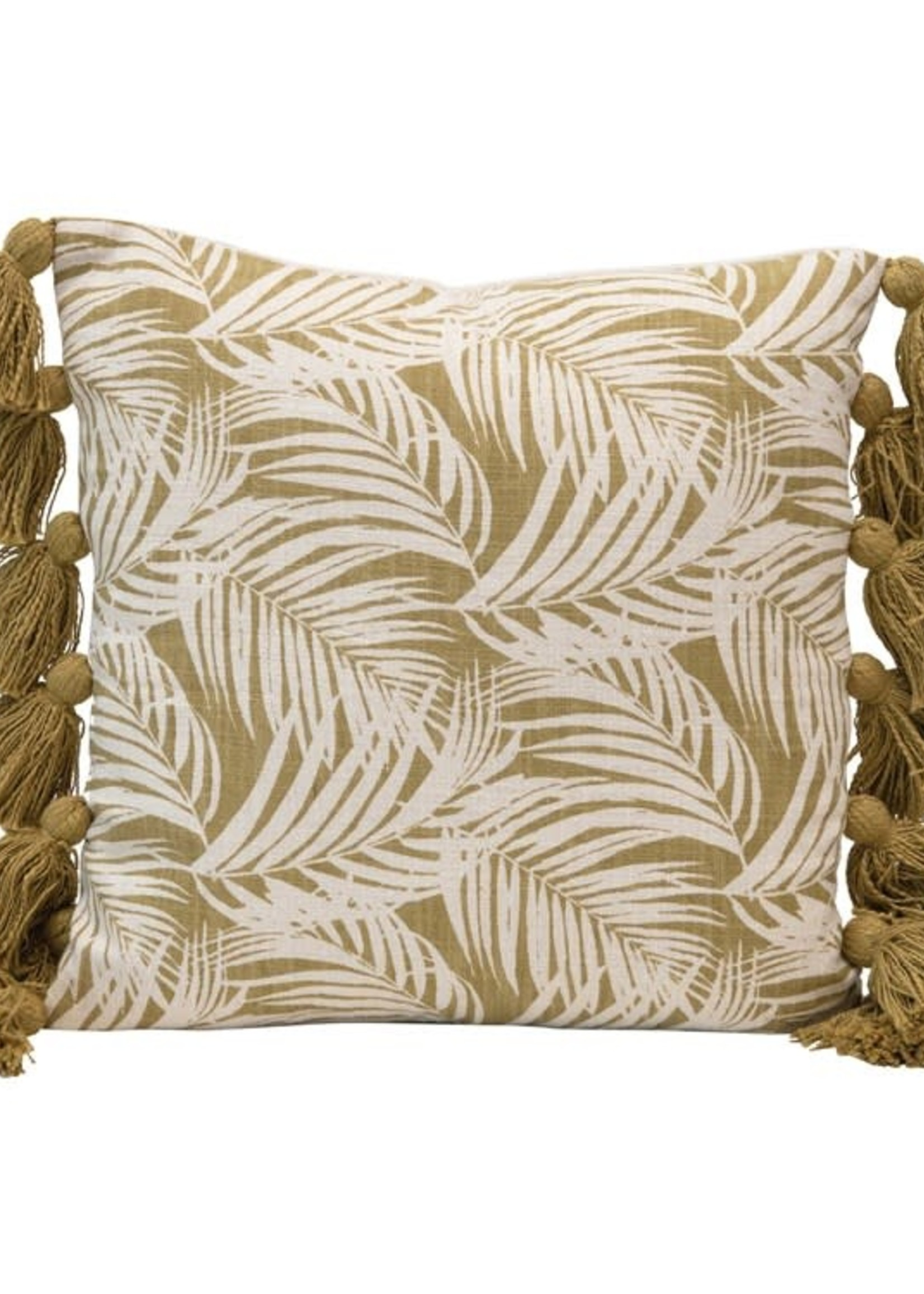 Square Cotton Pillow w/ Palm Frond Pattern & Tassels, Green & Natural