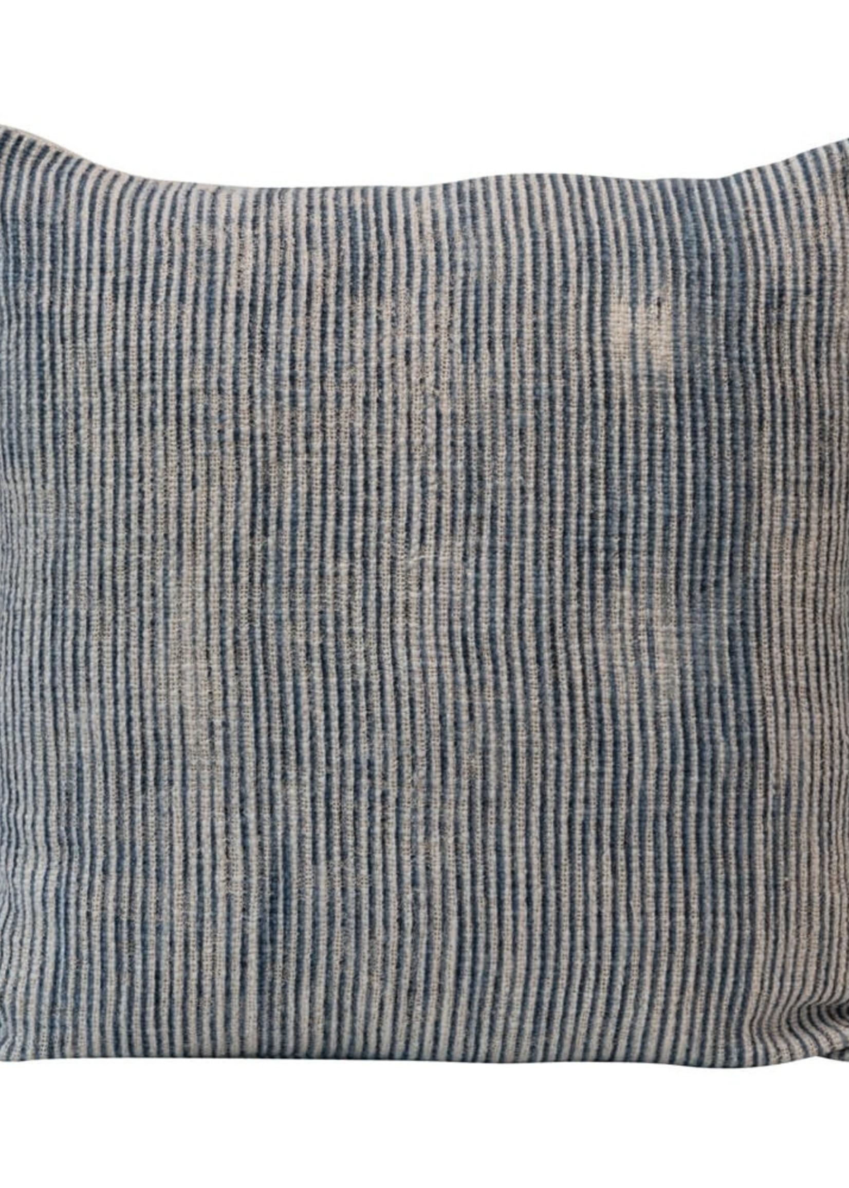 Square Stonewashed Woven Cotton Blend Slub Pillow w/ Stripes, Blue & Cream Color