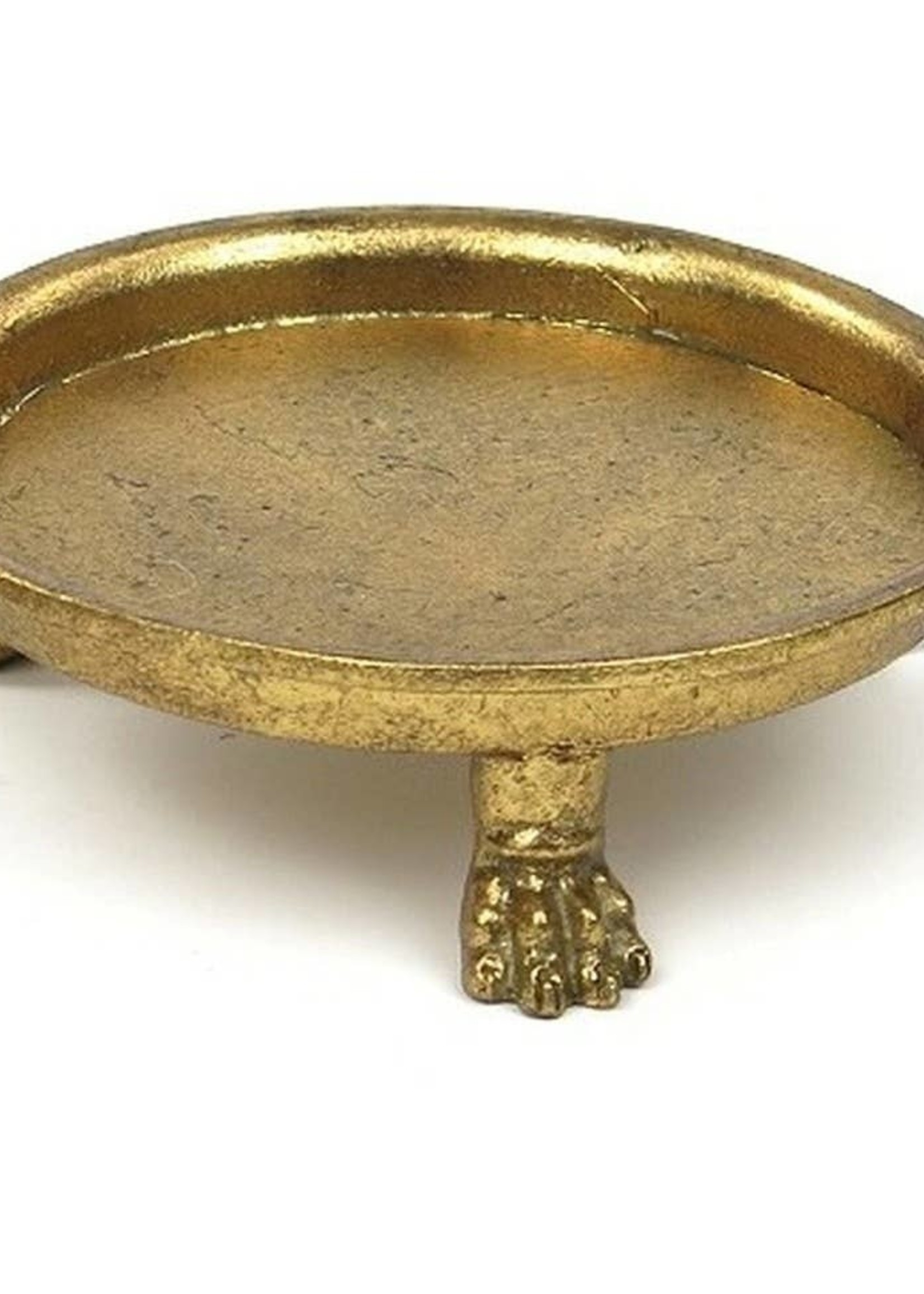 Metal Footed Dish in Gold Leaf