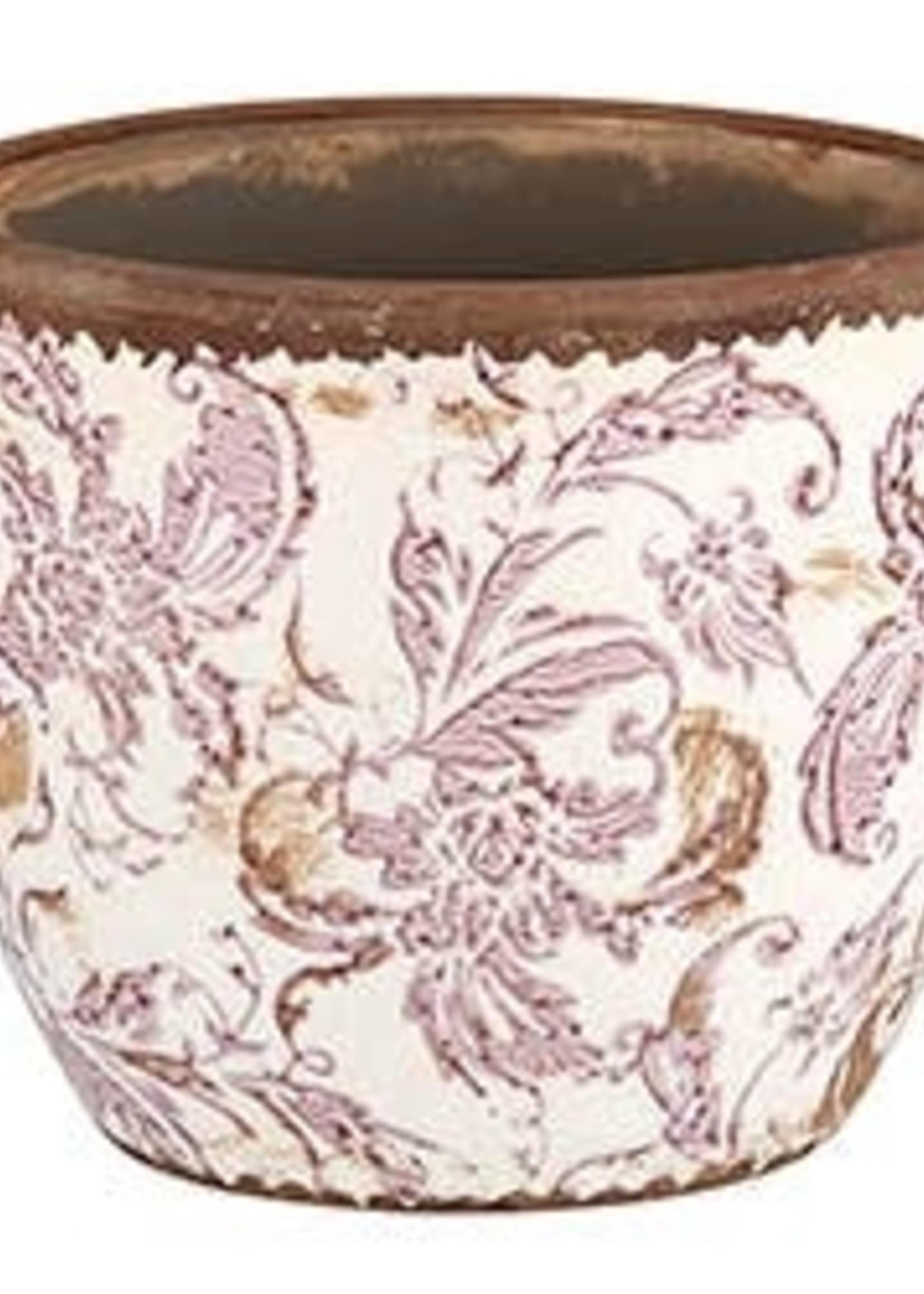 Cream And Maroon Flower Pot