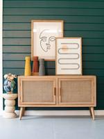 Wood TV Cabinet w Woven Cane Doors