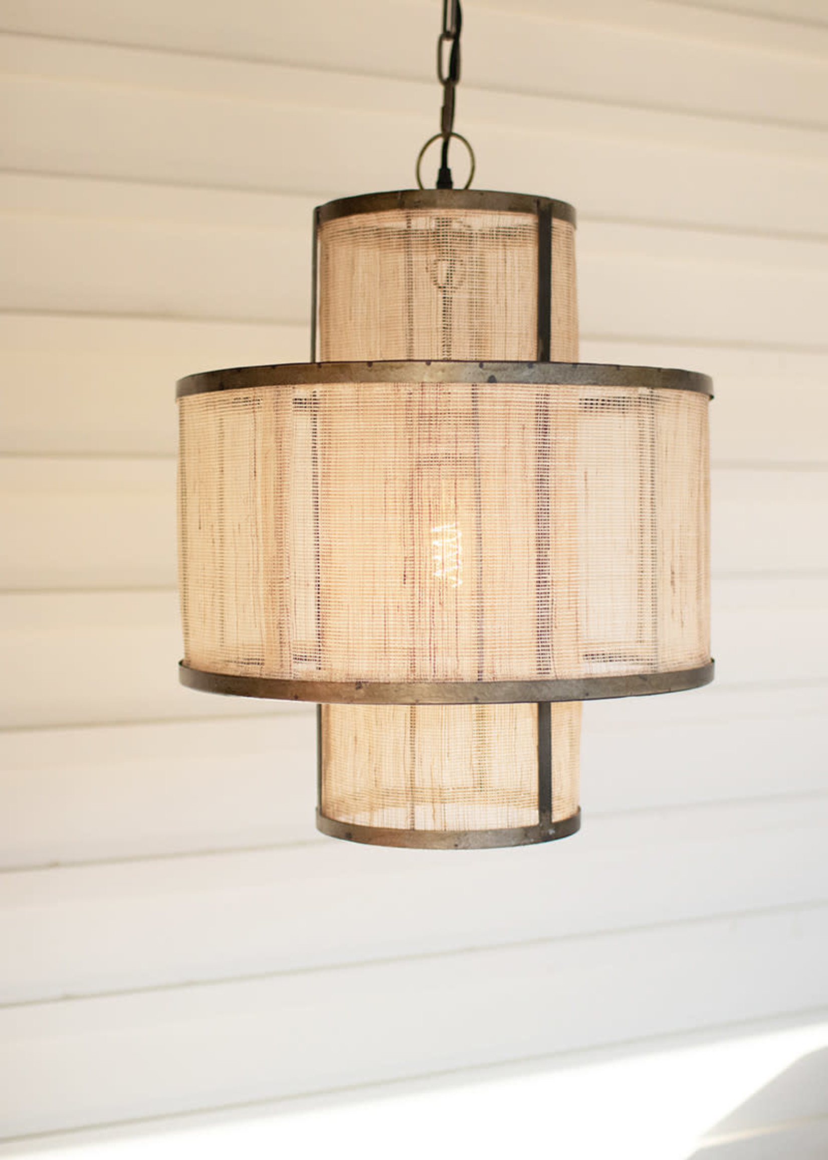 Round Double Layered Woven Fiber and Metal Pendant Light