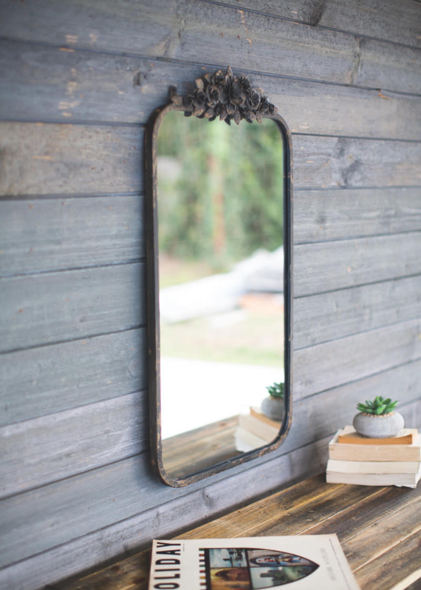 Rectangle Metal Mirror w/ Flower Details