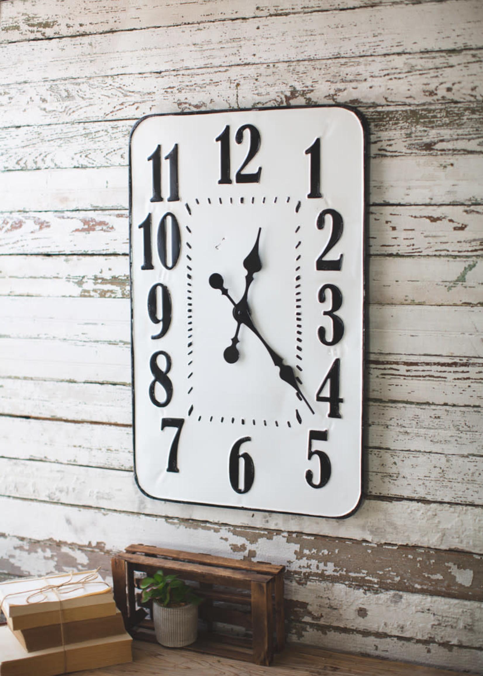Enamelware Rectangle Wall Clock