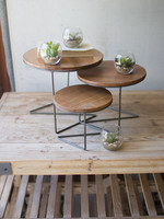 Set of Three Round Wire Display Risers w/ Wood Tops