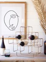 Antique Brass Cubes Wine Rack