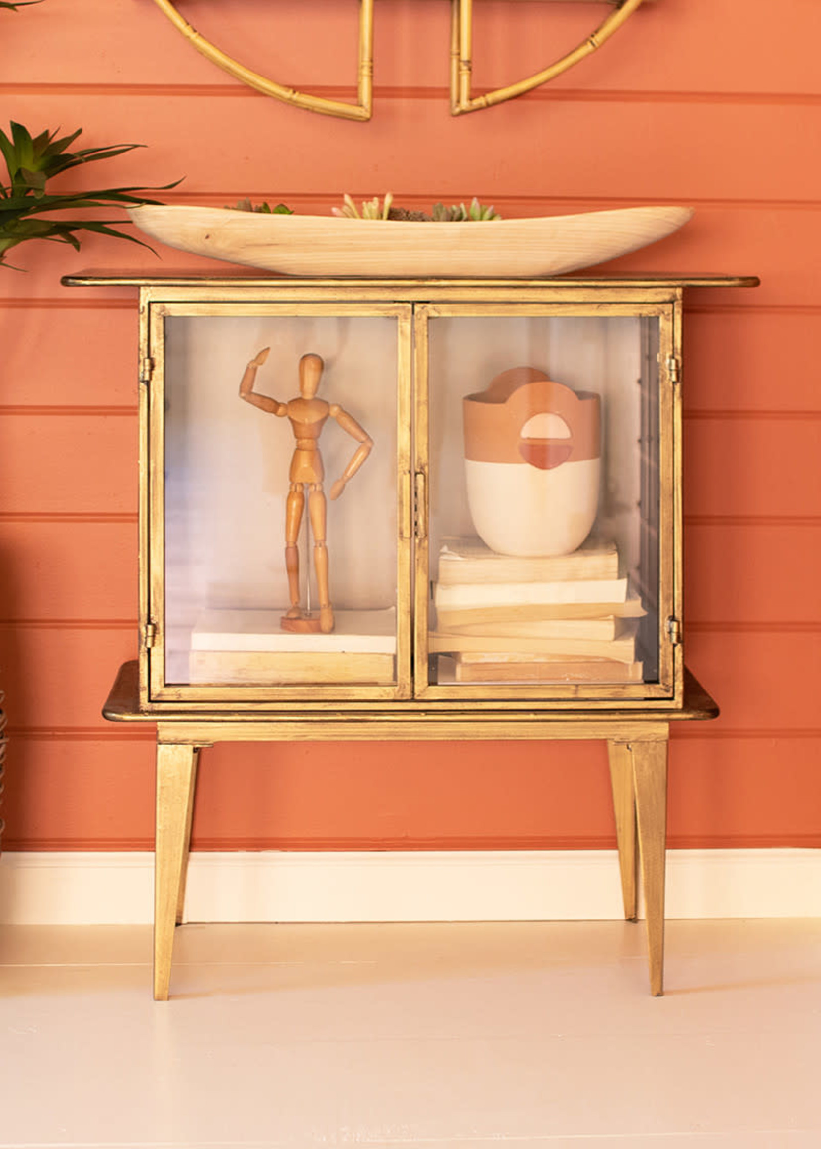 Antique Brass and Glass Two Door Cabinet