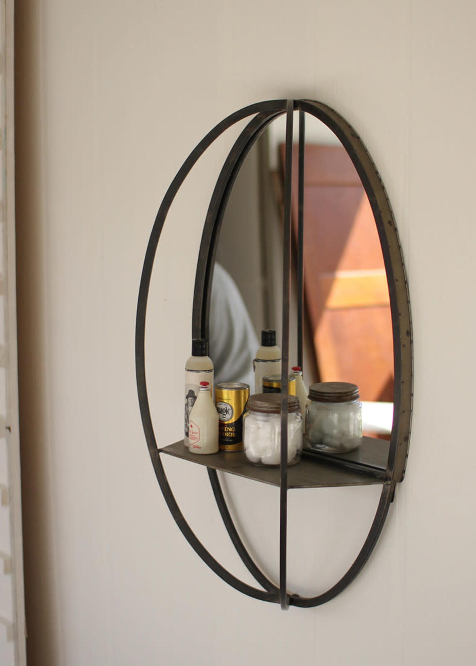 Oval Mirror w/ Wall Shelf