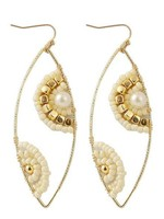 Koko and Lola Isla Beaded Ivory Gold Boho Earrings