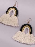 Koko and Lola Suki Rainbow Cotton Black Statement Earrings