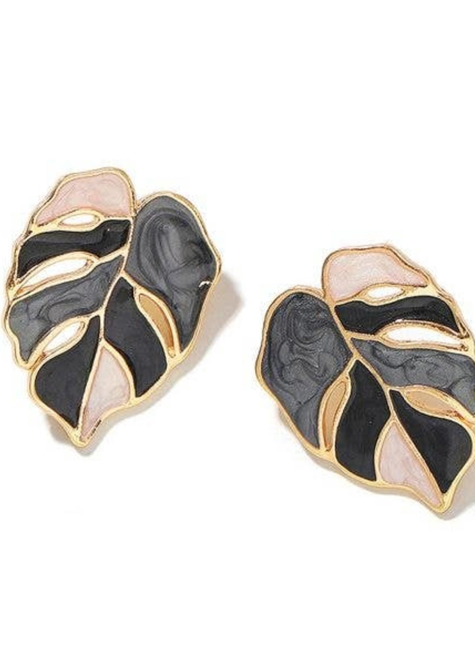 Multi Black/Grey Enamel Tropical Leaf Earrings