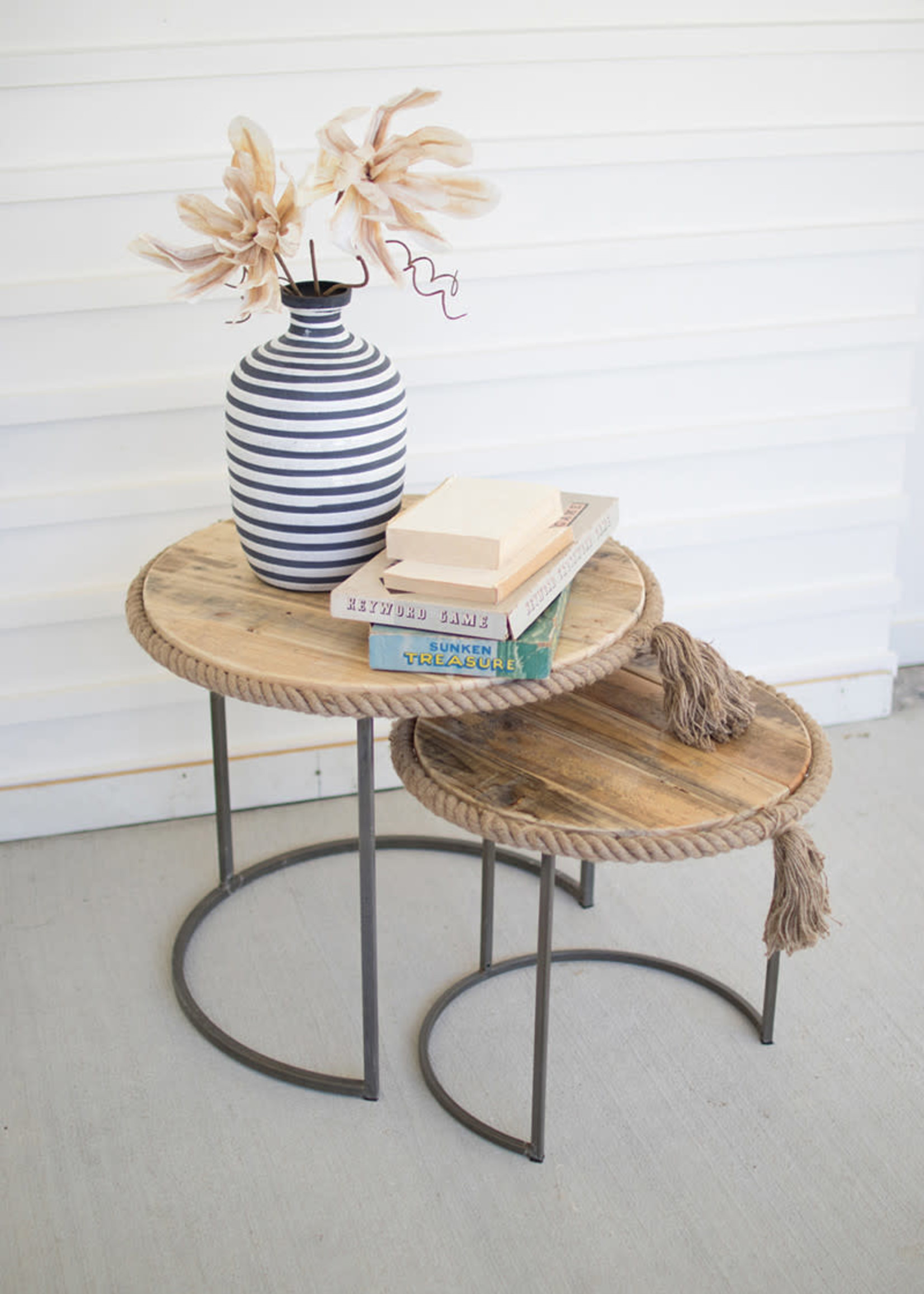 Round Nesting Tables with Recycled Wood with Rope Accent - Set of 2