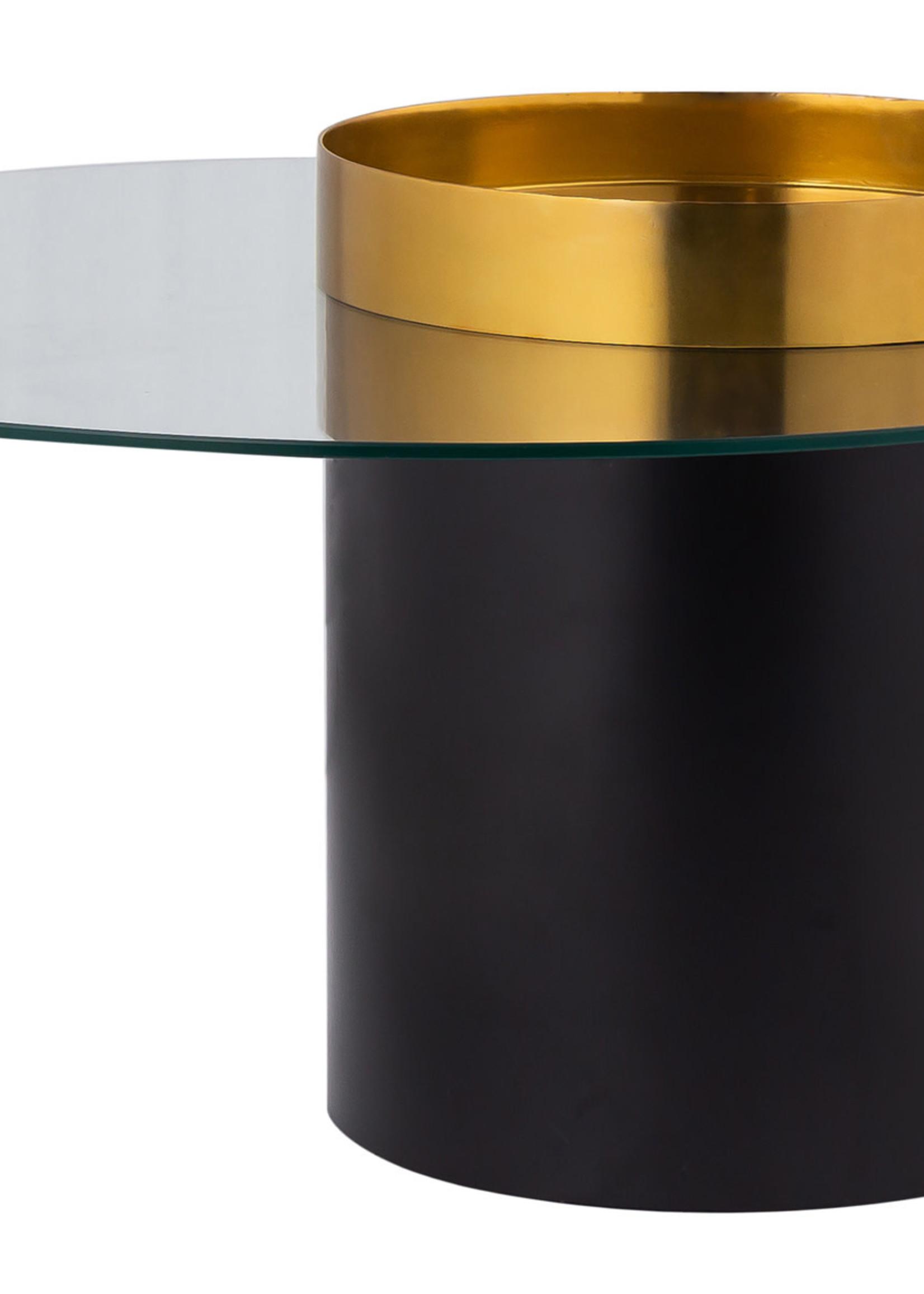 """Complex Industries, Inc. 36X36X17"""" BLACK & GOLD METAL W/ GLASS COCKTAIL TBL, 1PC/22.78"""