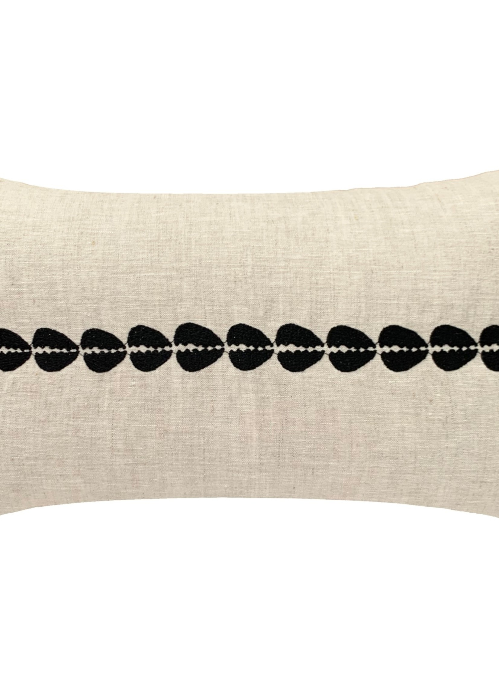 Pillowpia Cowrie Embroidered Lumbar Pillow in natural
