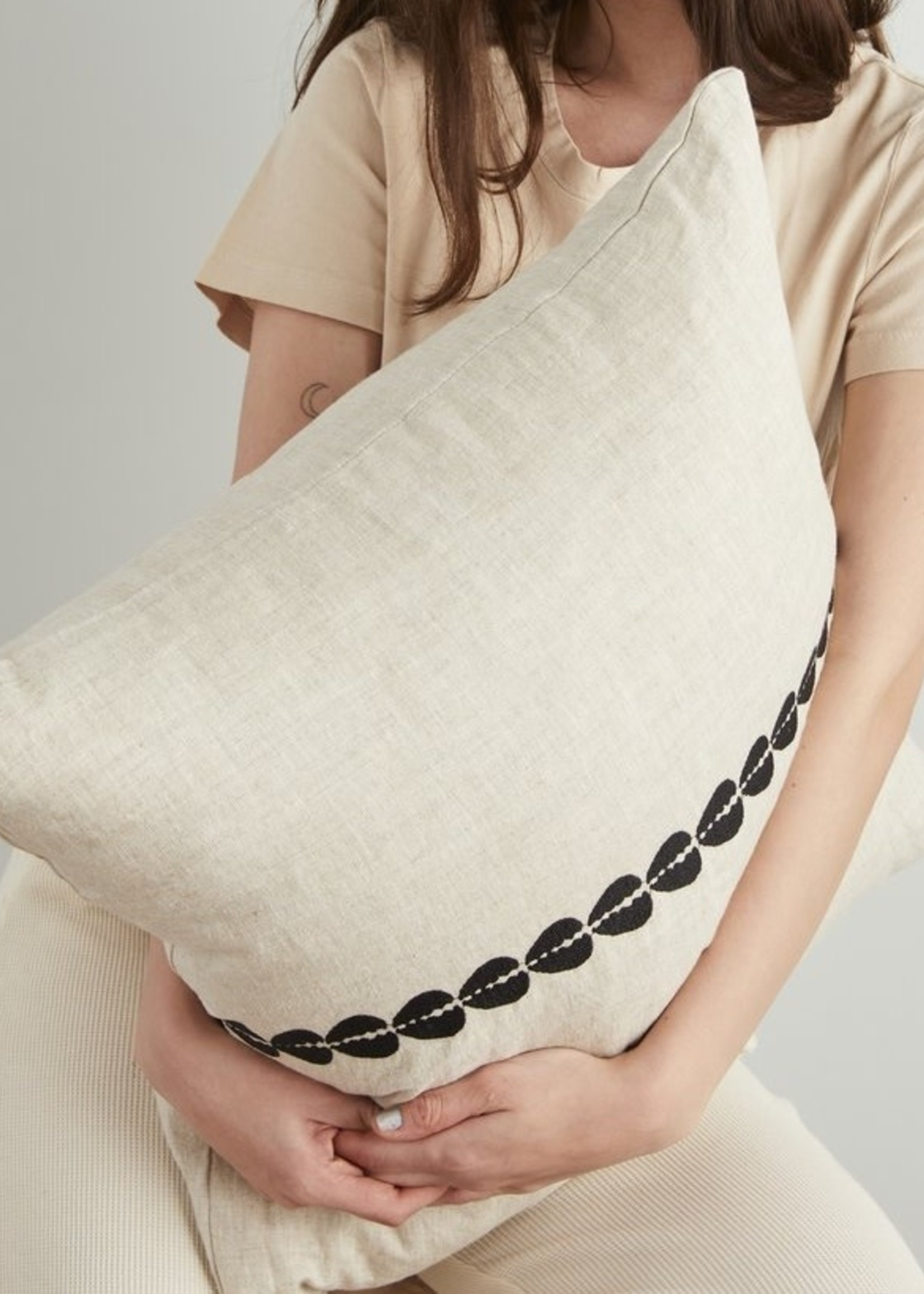 Pillowpia Cowrie Embroidered Pillow in natural