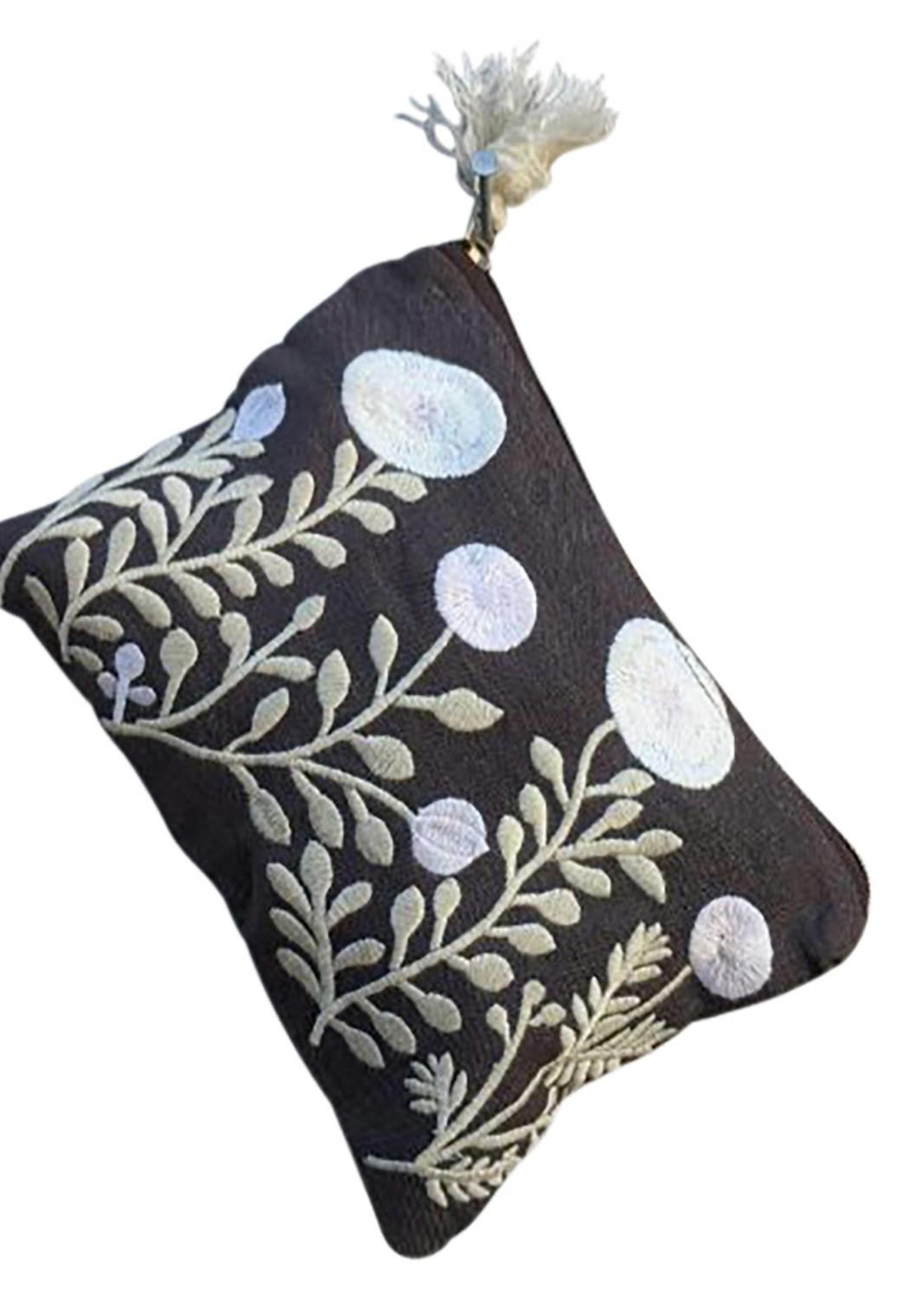 Chloe & Lex Embroidered Garden Medium Pouch