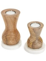 ADV Candle Holder Wood/mrb Natural/White 4.5h