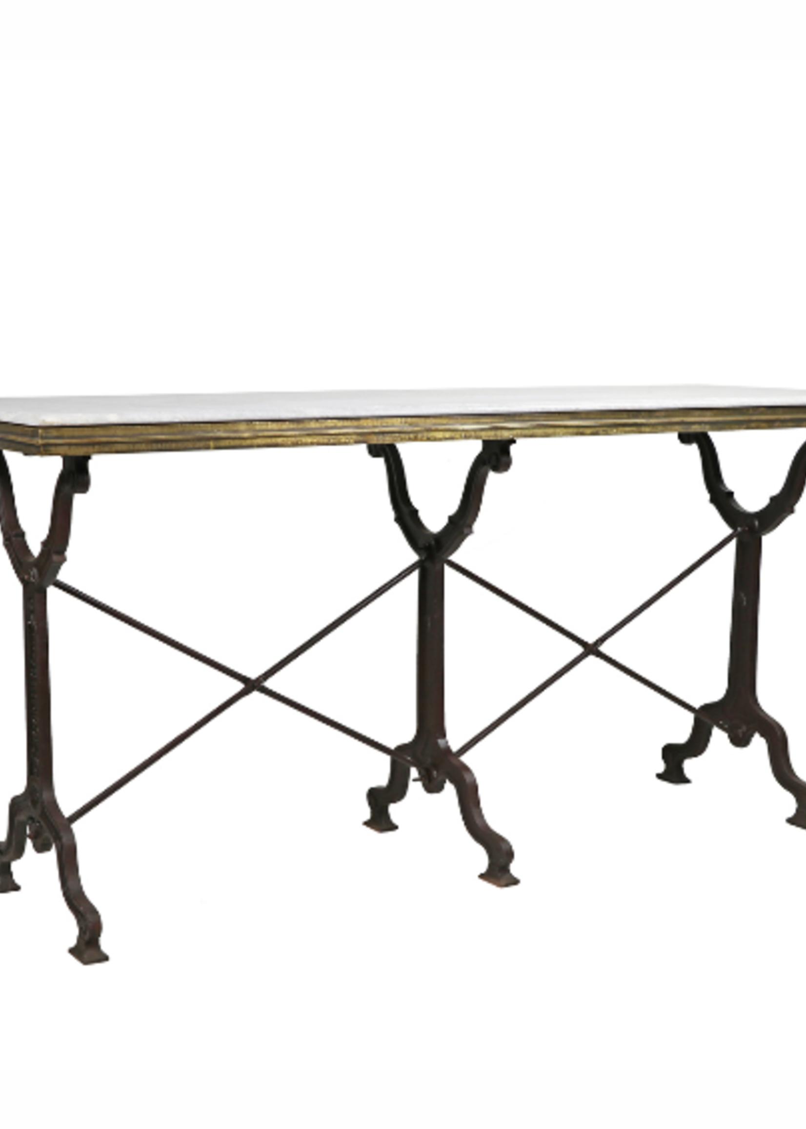 Avignon Rectangle Bistro Table, Marble and Black Iron