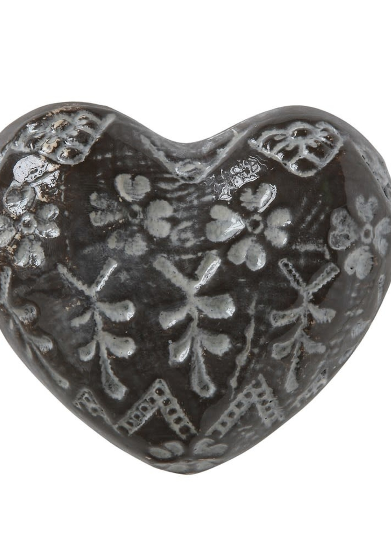 "3-1/2""L x 3""W Stoneware Heart, Embossed Brown/White Fin"