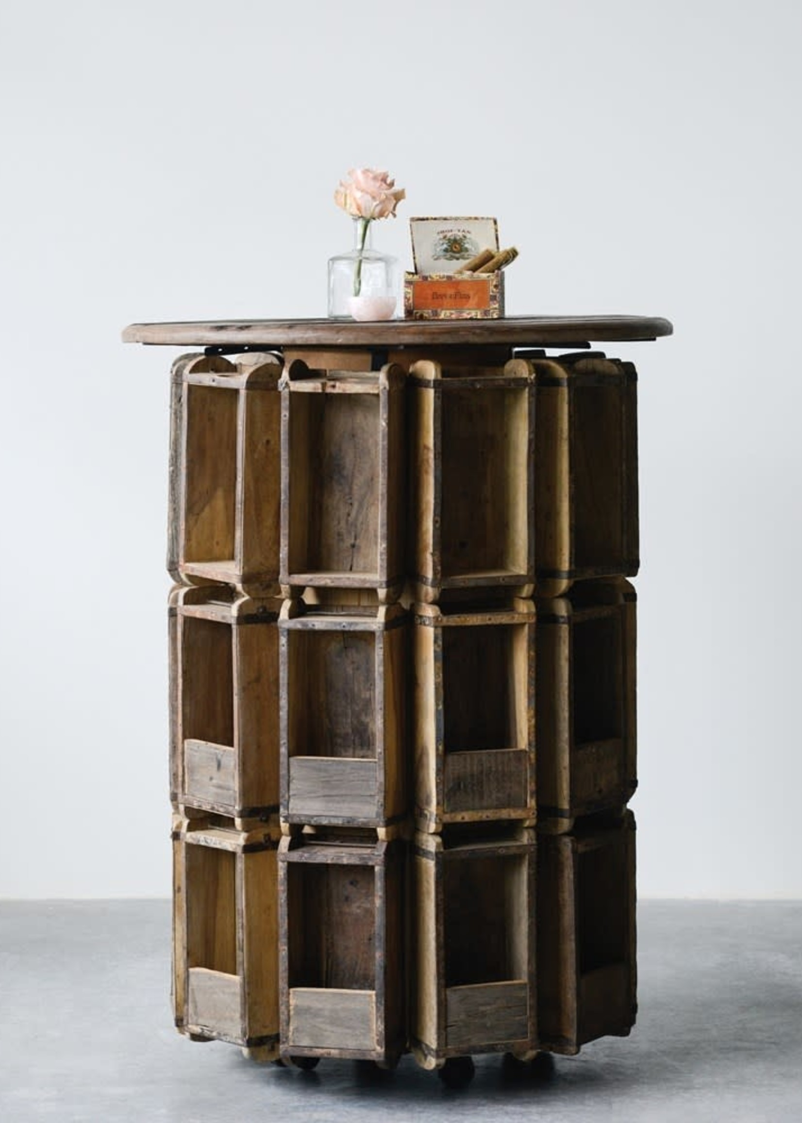 Found Wood Brick Mould Bar Height Table