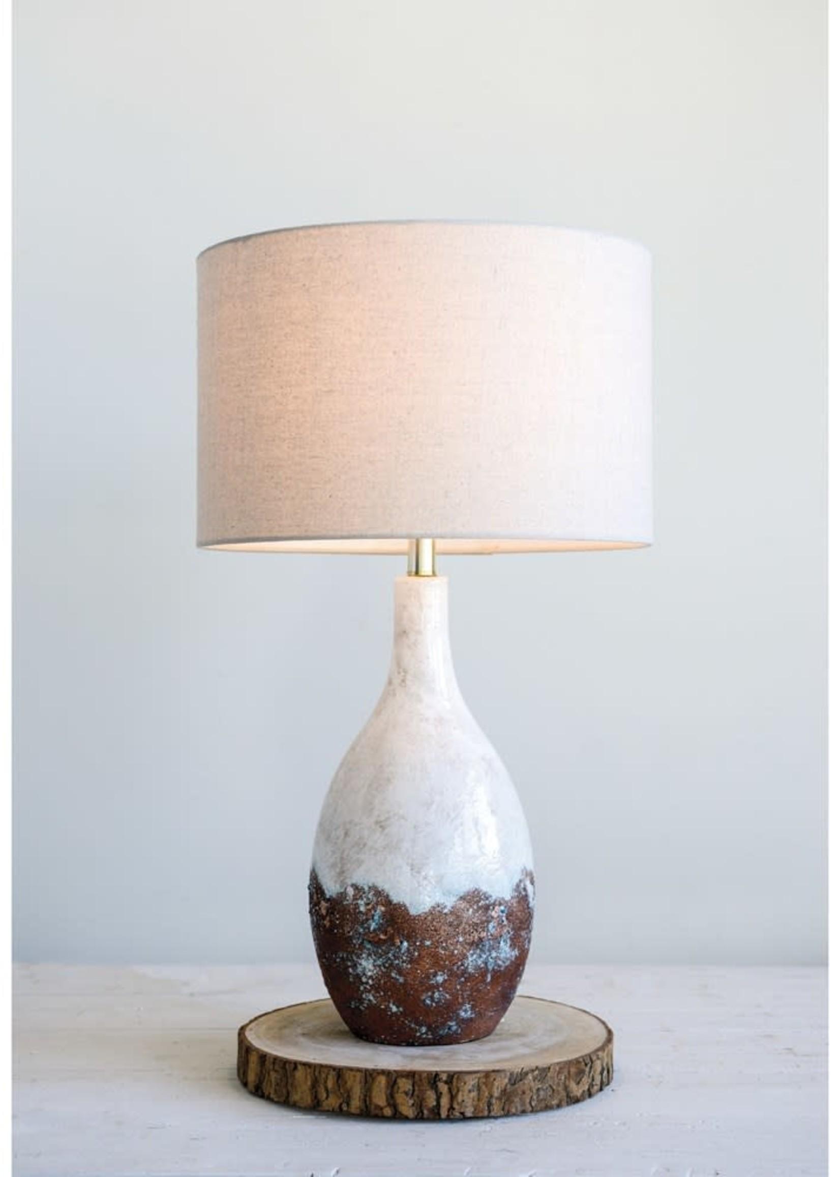 "5""L x 8""W x 28""H Ceramic Lamp w/ Linen Shade, White Reactive Glaze"