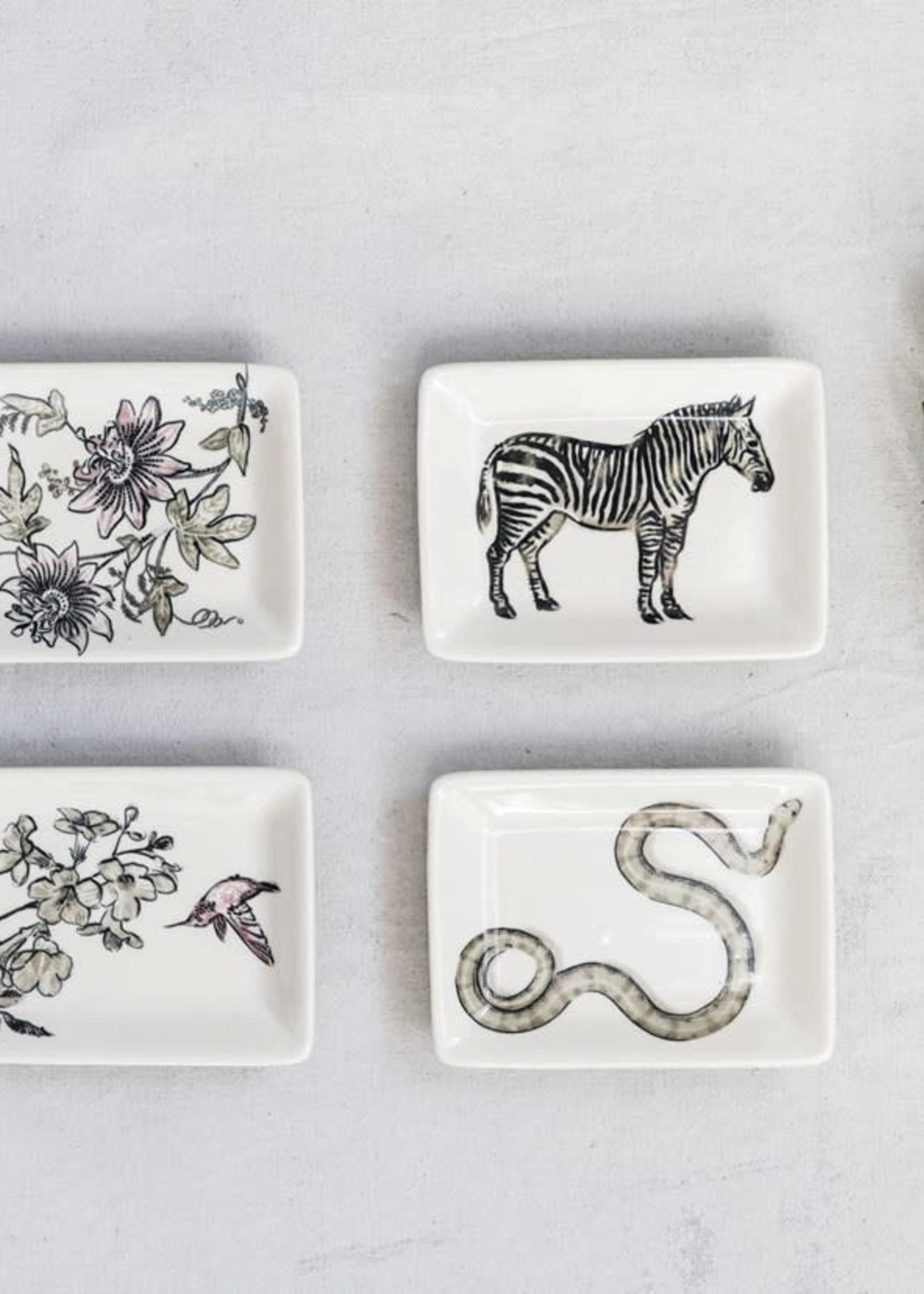 "4""L x 3""W Stoneware Dish w/ Flowers & Animals, Black & White, 4 Styles"