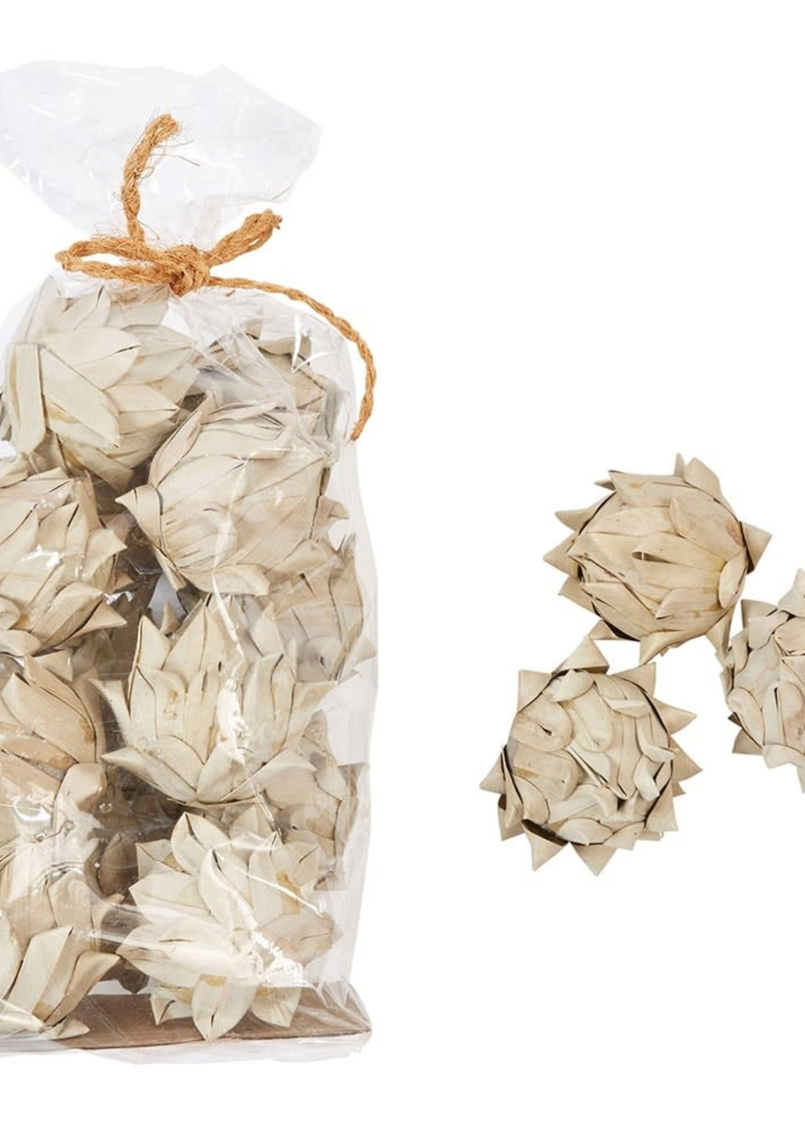 """3""""H Handmade Dried Natural Palm Leaf Artichoke in Bag (Contains 13 Pieces)"""