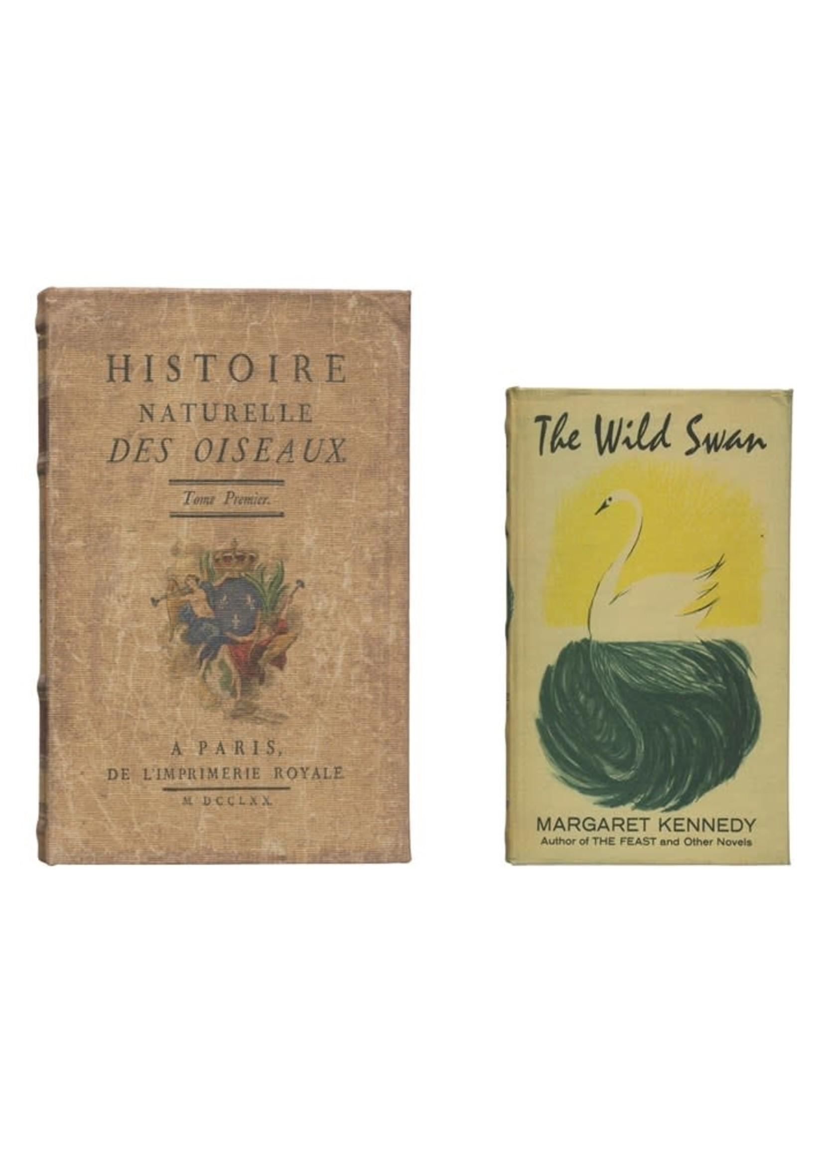 """10-1/4""""L x 6-3/4""""W Book Storage Boxes, Set of 2 """"Histoire Naturelle?"""""""