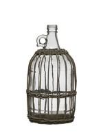 "12-1/4""H Woven Bamboo Glass Bottle w/ Woven Bamboo Sleeve, Grey"