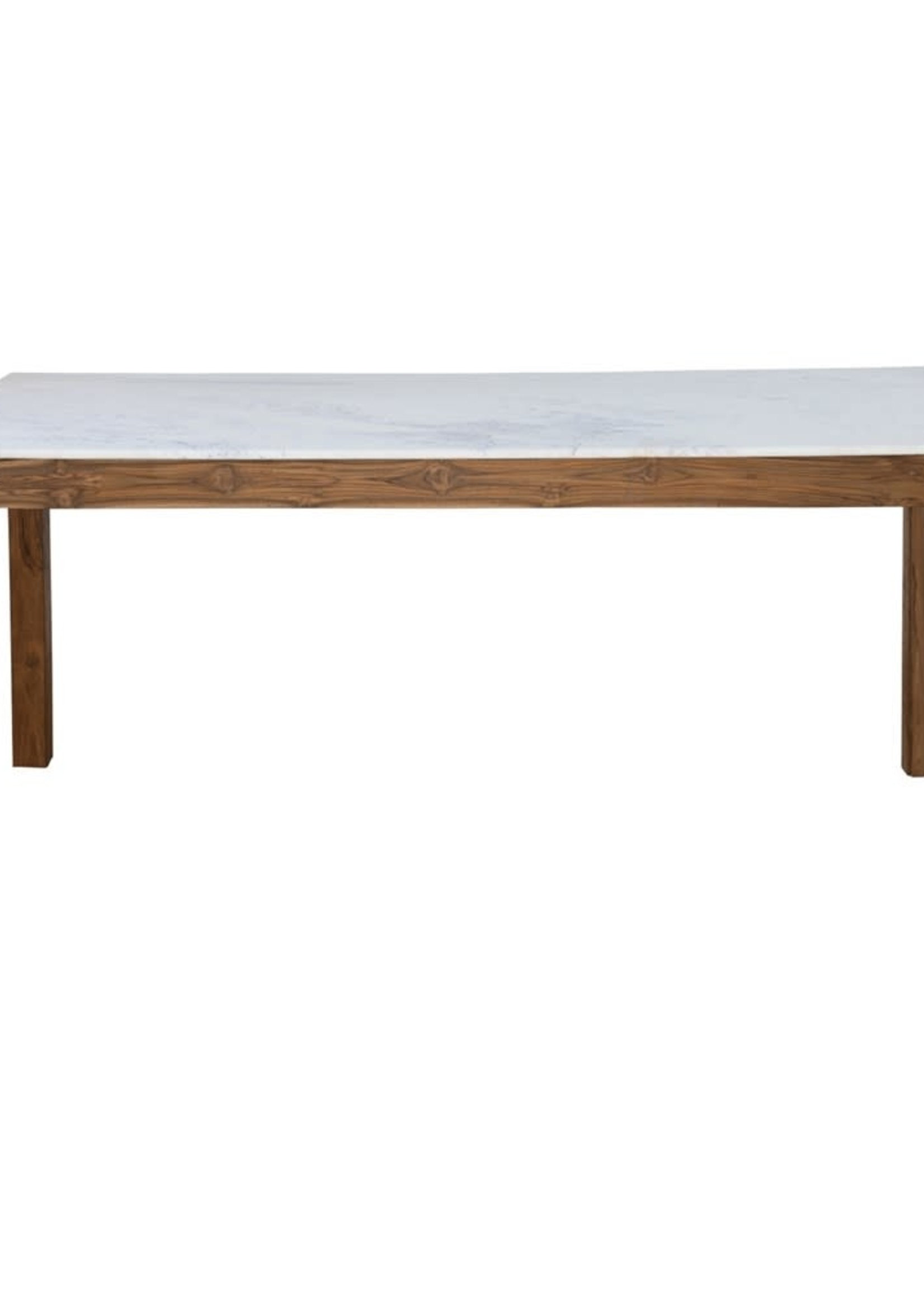 """69""""L Wood Table w Marble Top"""