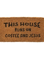 """32""""L x 16""""W Natural Coir """"This House Runs On Coffee and Jesus"""""""