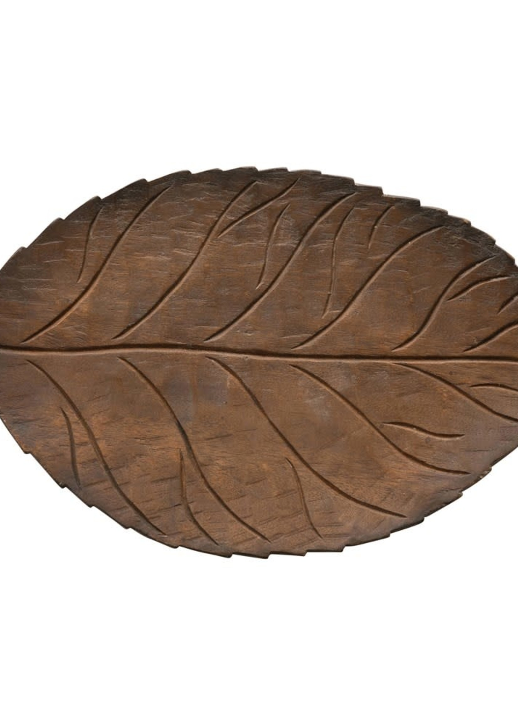 """16""""L Hand Carved Wood Leaf Tray"""