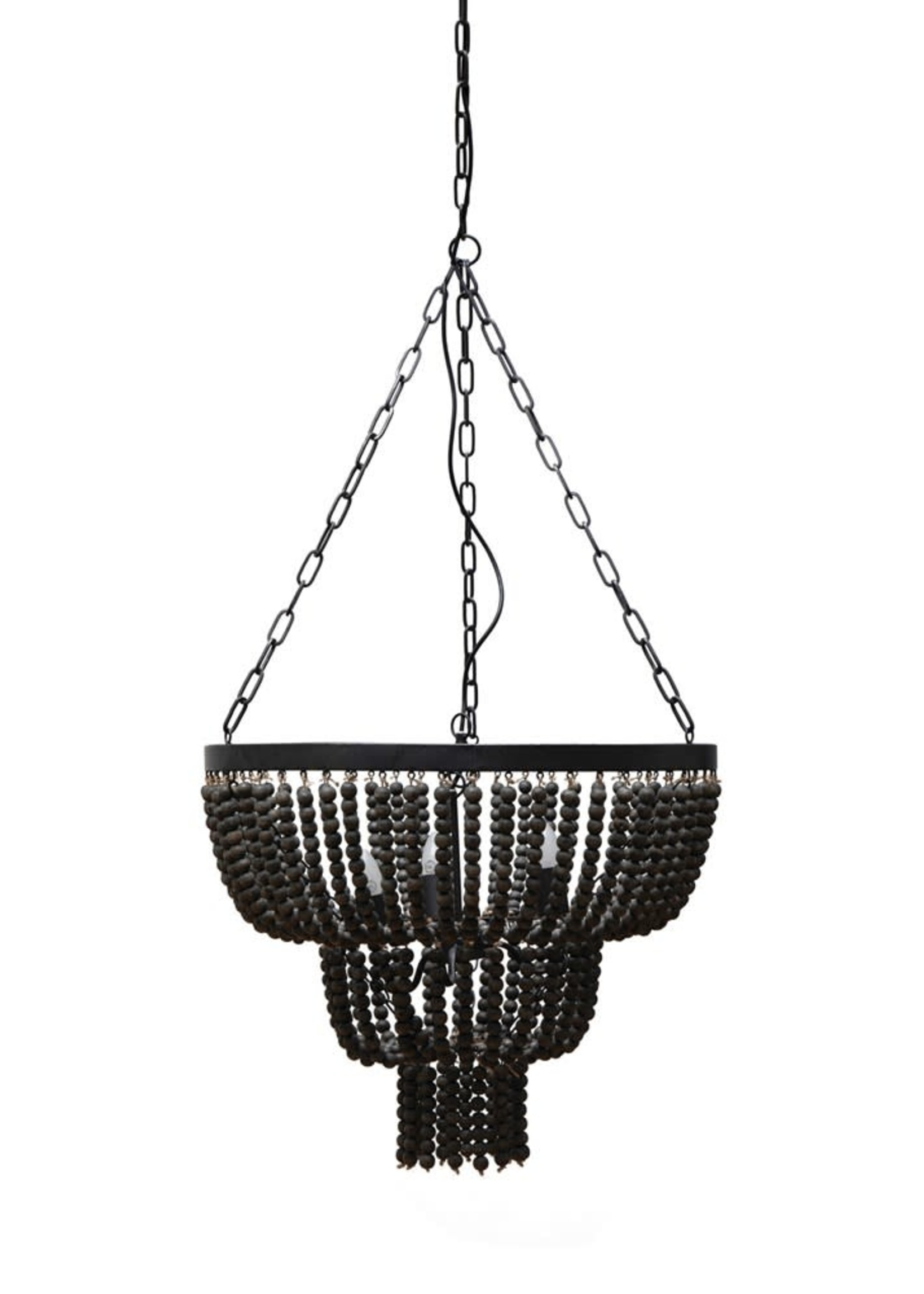 Round Iron Pendant Lamp w/ Wood Beads