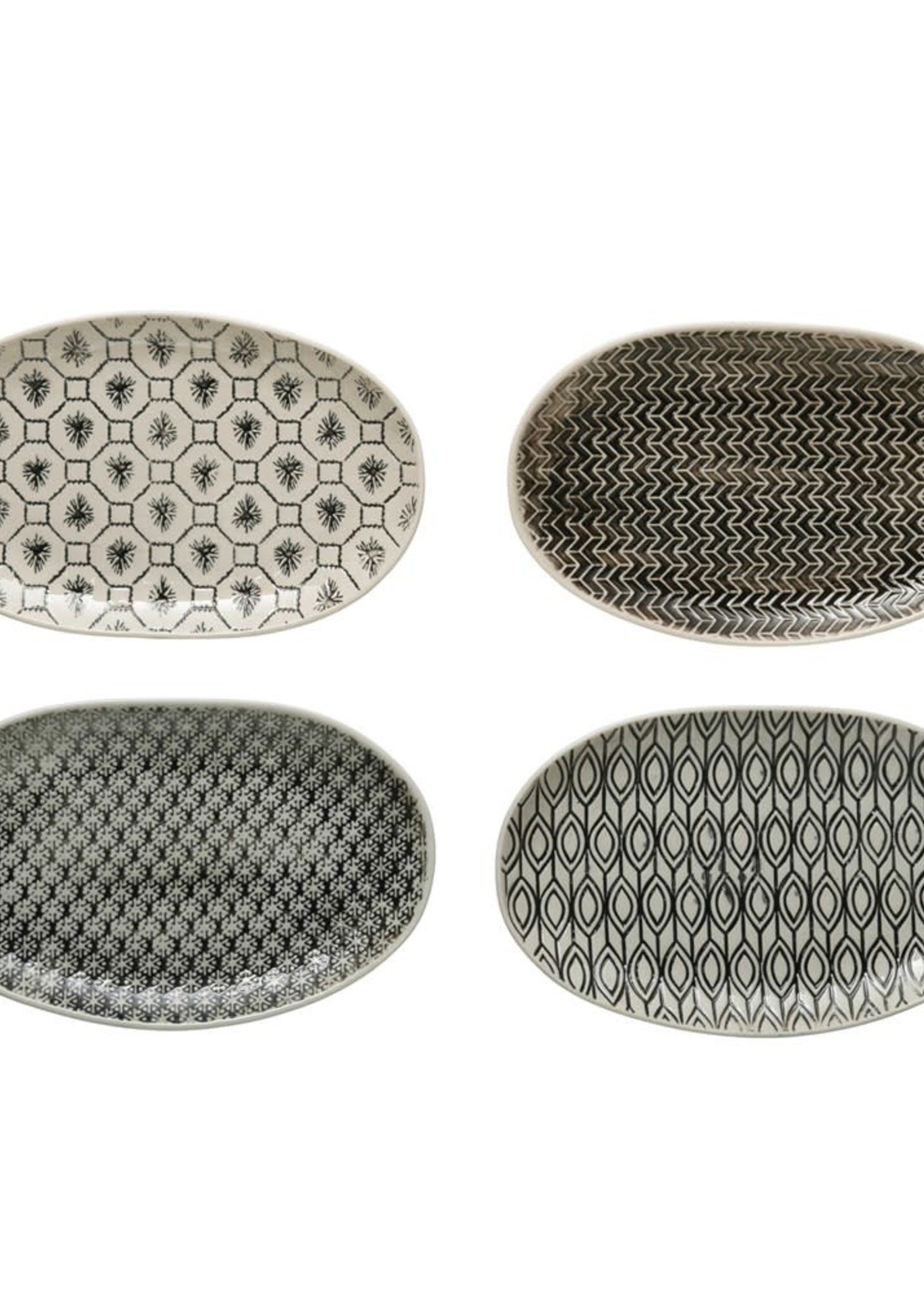 Hand-Stamped Stoneware Plate w/ Embossed Pattern, Black & Cream Color, 4 Styles