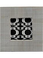 "6-3/4"" Square MDF/Bone Photo Frame w/ Checked Pattern, Natural & Black (Holds 4"" x 4"" Photo)"