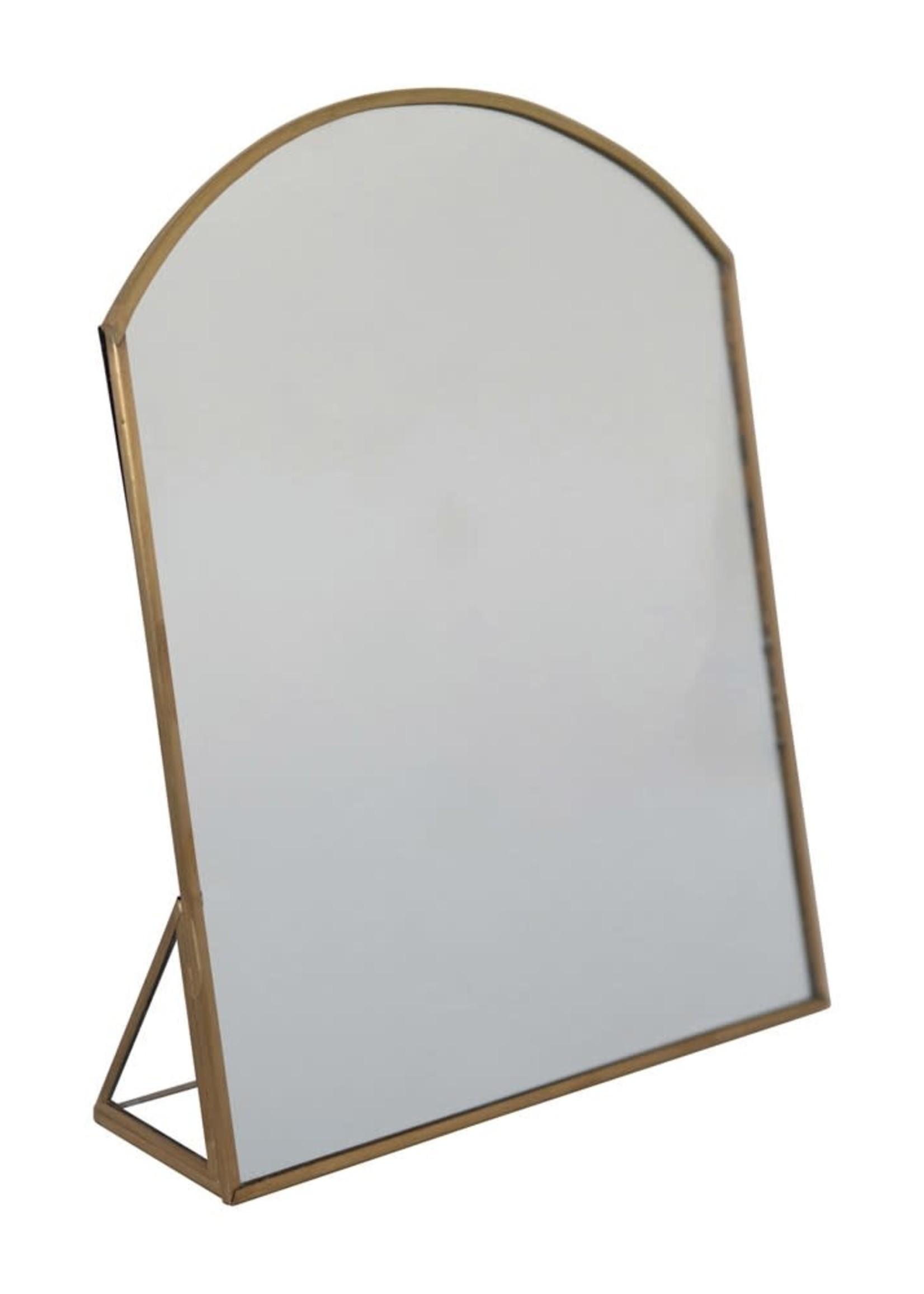 """9-3/4""""H Mirror w Brass Frame Standing Mirror, Brass Finish"""