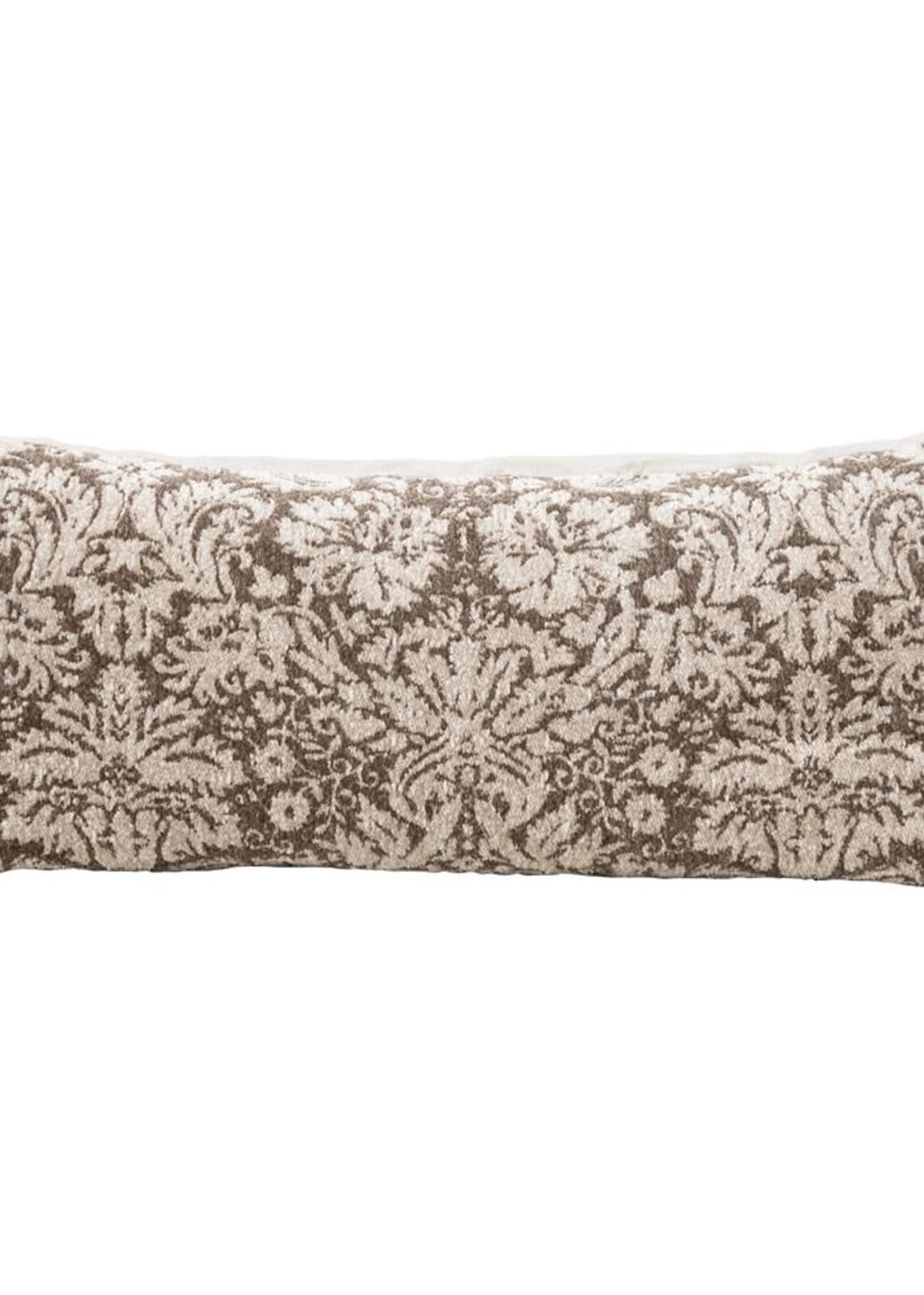 "36""L x 16""W Polyester Lumbar Pillow, Brown & Cream Color"