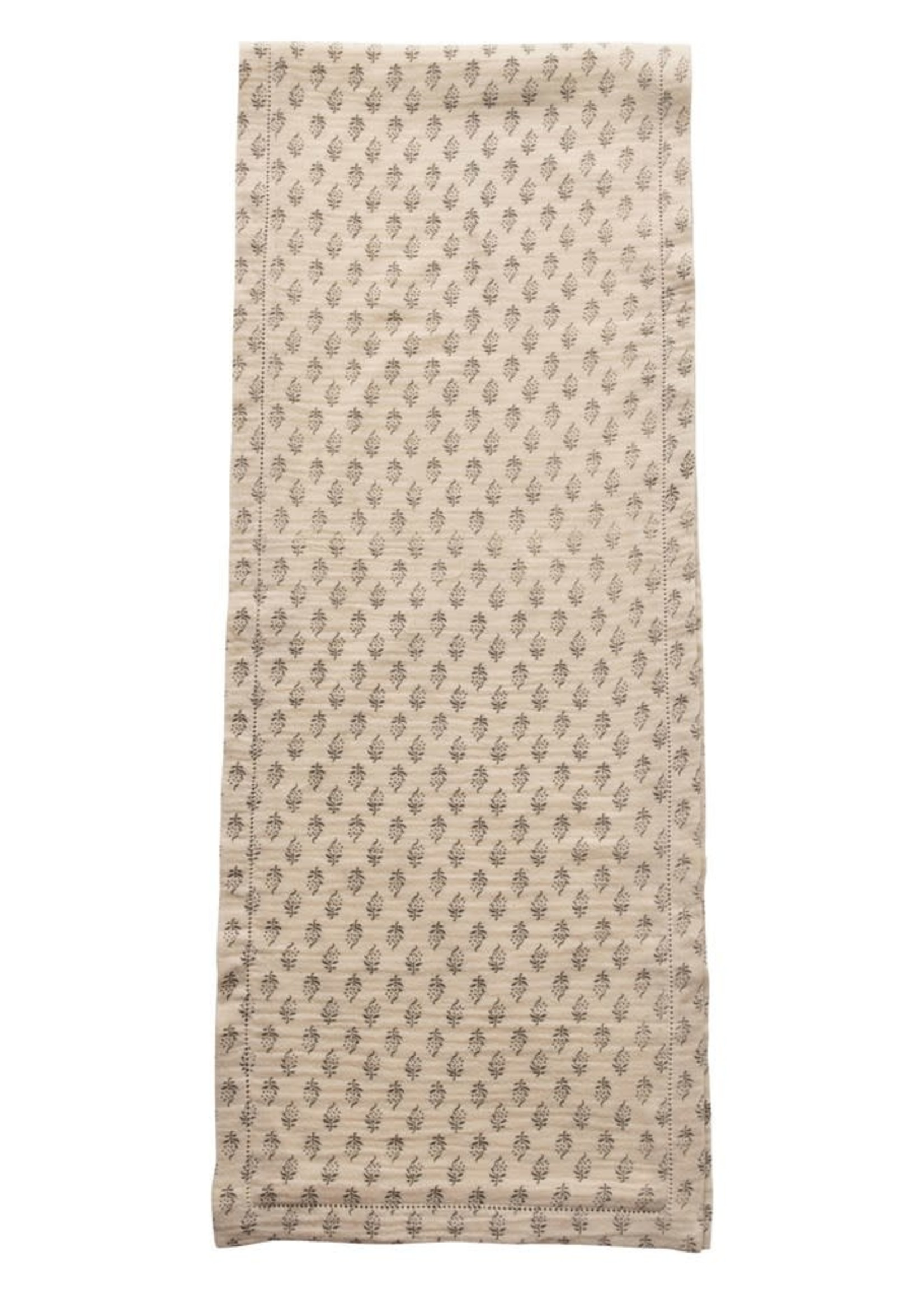 """72""""L x 14""""W Cotton Runner, w/ Printed Floral Pattern, Grey & Cream Color"""