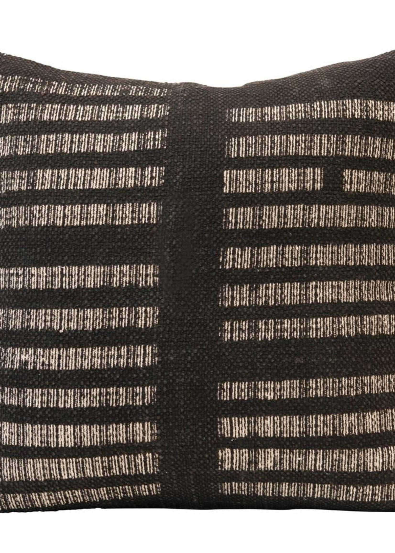 "20"" Sq Cotton Pillow, White & Black"