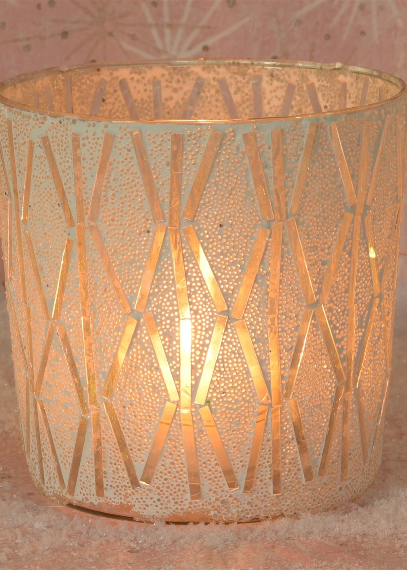 HomArt Blanco Mosaic Vase, Glass - Lrg