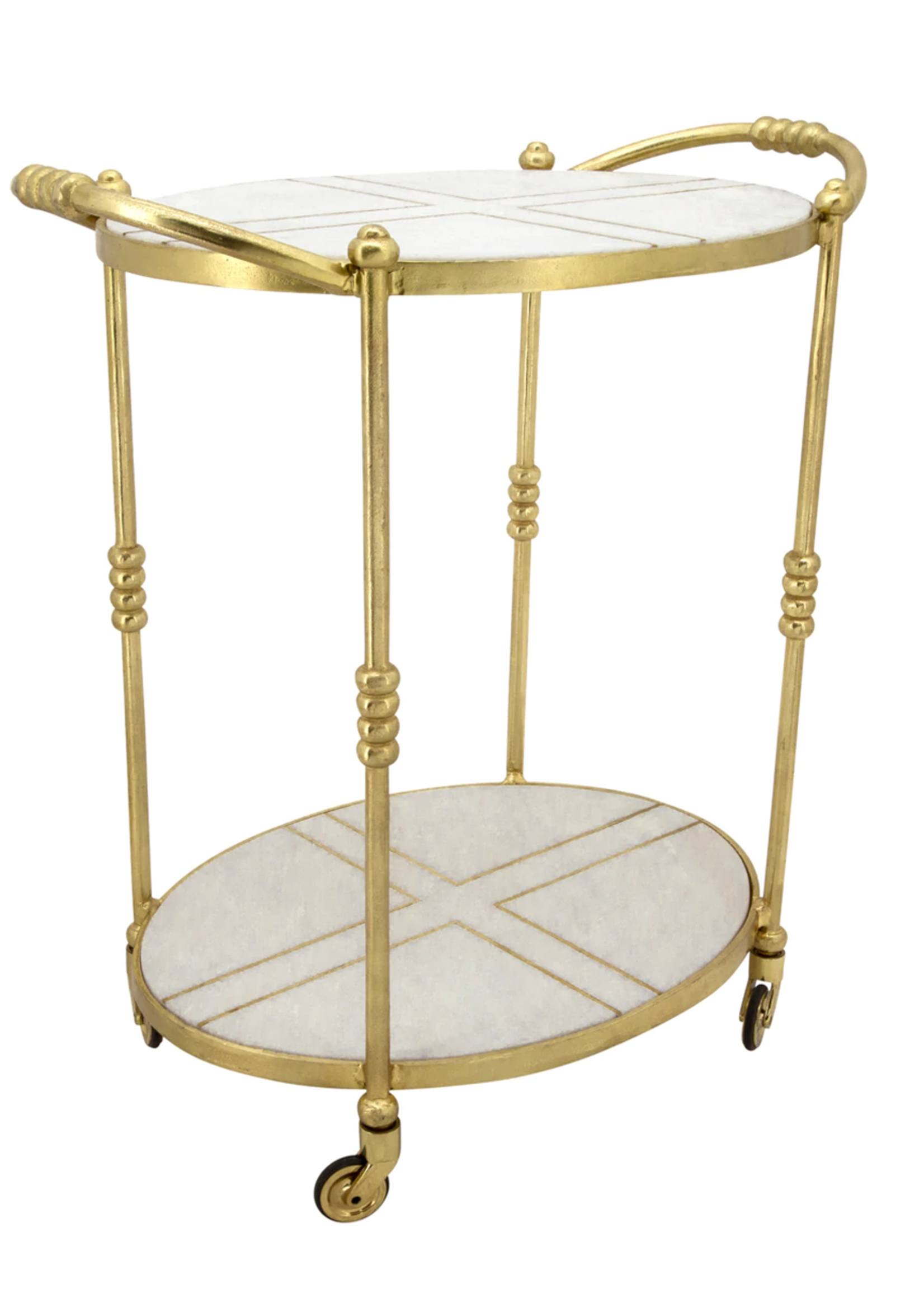 """28"""" Rolling Oval Bar Cart, Gold"""