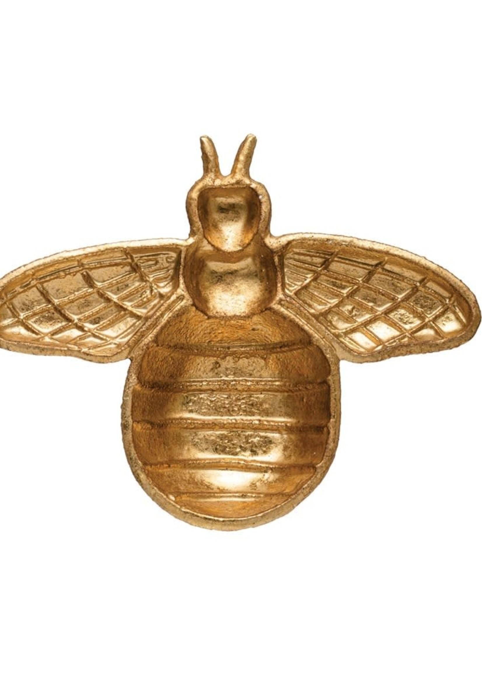 Decorative Cast Iron Bee Shaped Dish, Gold Finish